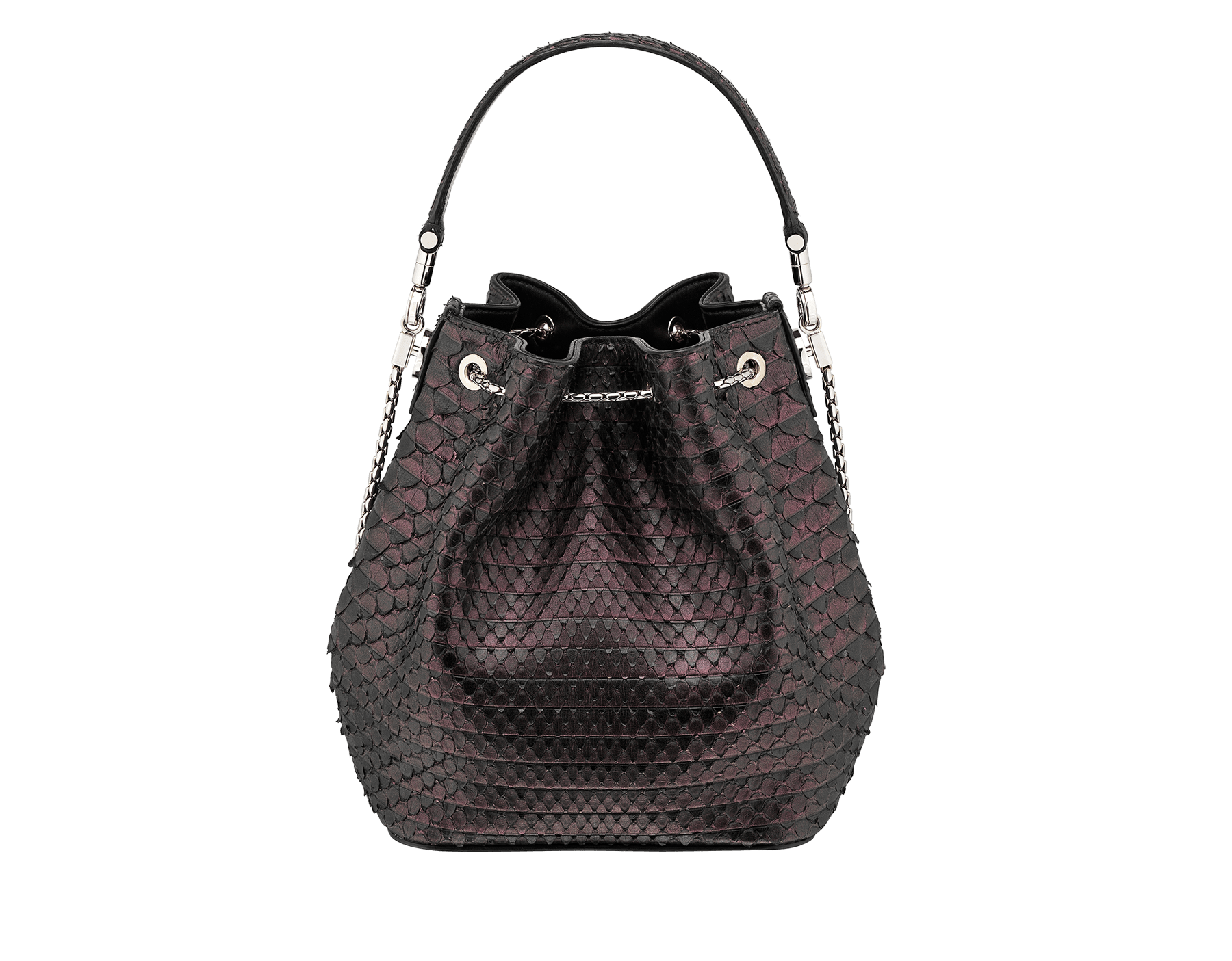 Bucket Serpenti Forever in plum amethyst Plissé python skin and black nappa internal lining. Hardware in light gold plated brass and snakehead closure in black and plum amethyst enamel, with eyes in black onyx. 934-PP image 3