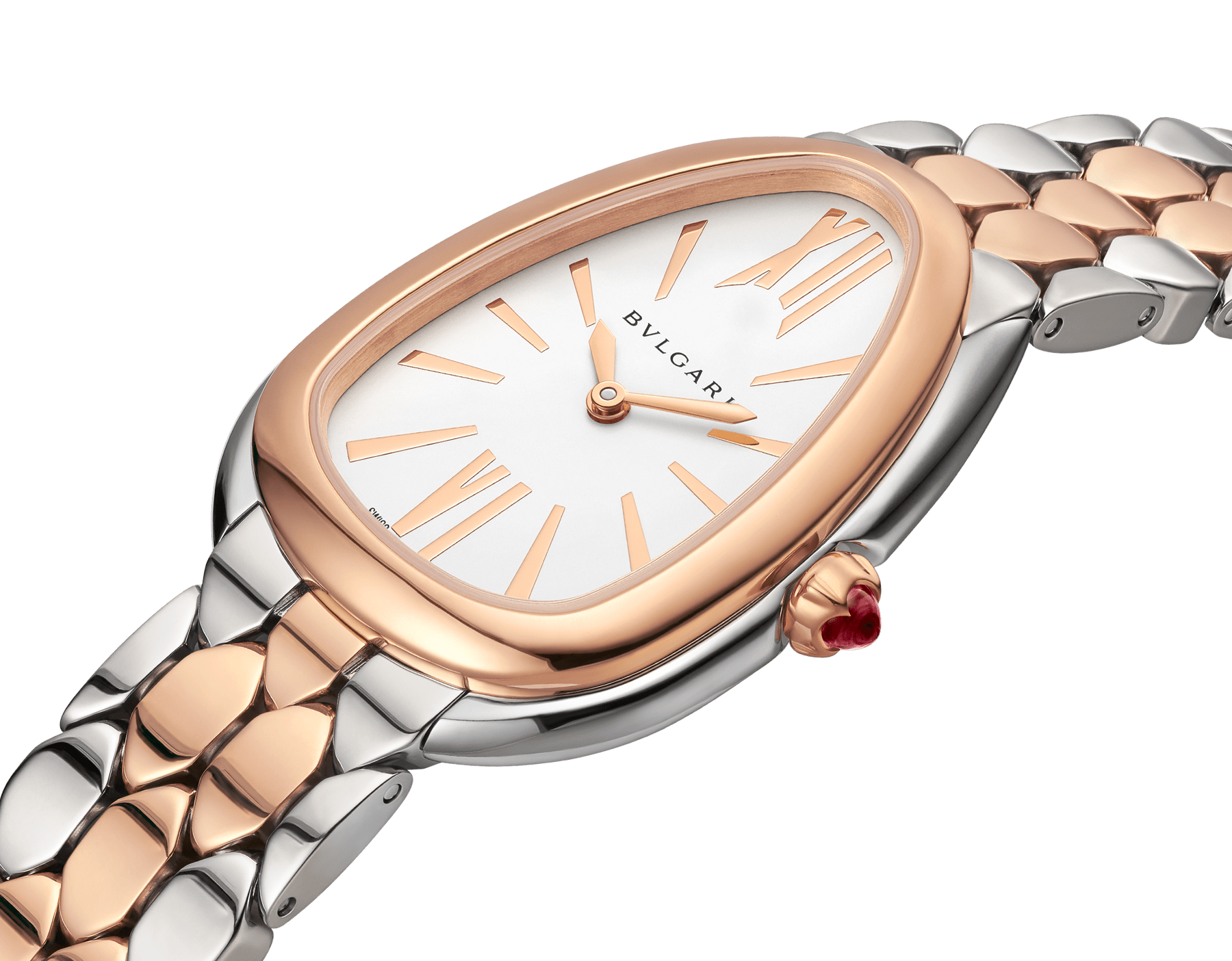 Serpenti Seduttori watch in stainless steel and 18 kt rose gold case and bracelet, with white silver opaline dial 103277 image 2
