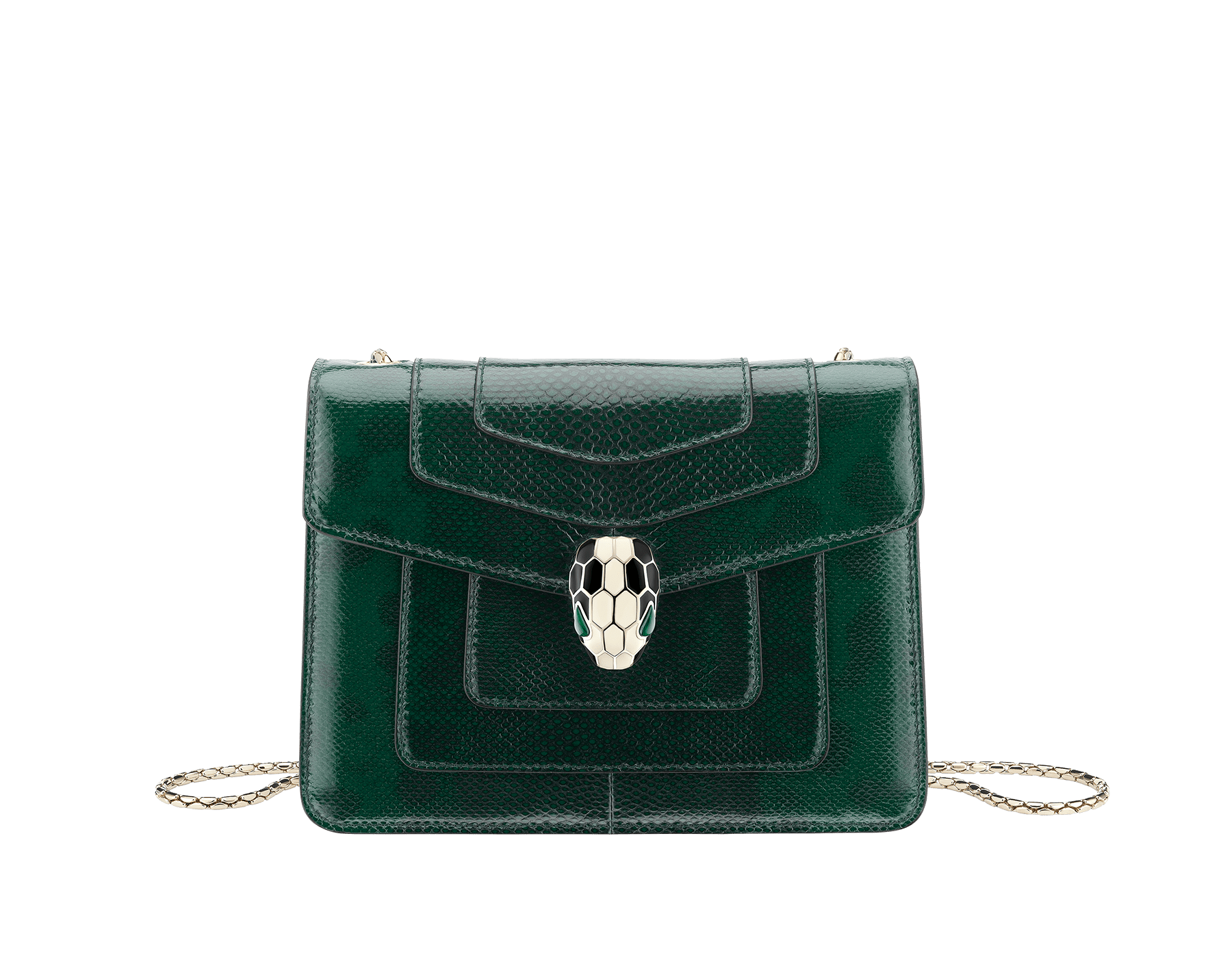 """Serpenti Forever"" crossbody bag in shiny forest emerald karung skin. Iconic snakehead closure in light gold plated brass enriched with black and white enamel and green malachite eyes. 287357 image 1"