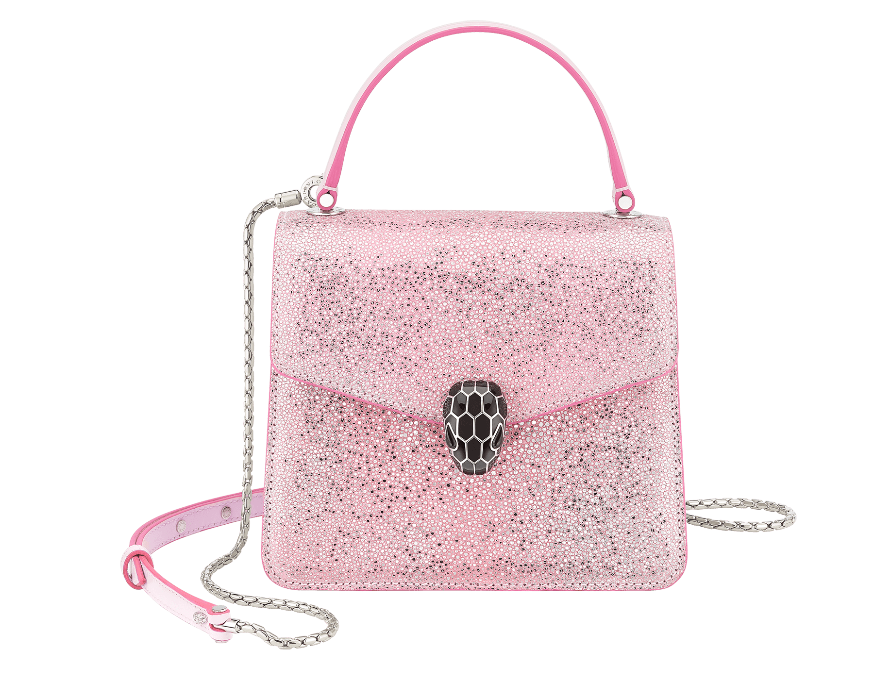 """Serpenti Forever"" crossbody bag in rosa di francia crystal galuchat body and rosa di francia calf leather sides. Iconic snake head closure in palladium-plated brass enriched with black enamel and black onyx eyes. 289459 image 1"