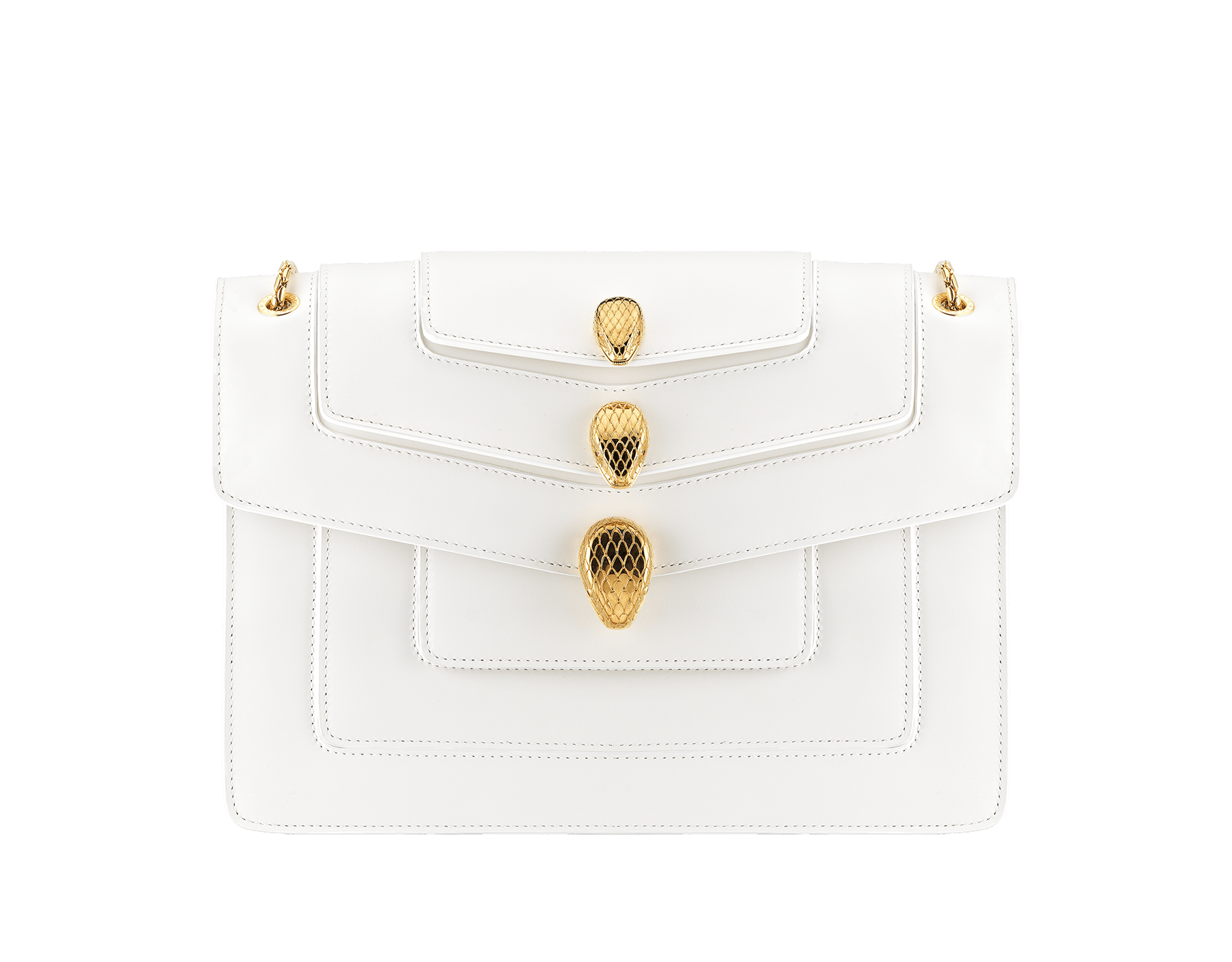 Alexander Wang x Bvlgari Triplette shoulder bag in smooth white calf leather. New triple Serpenti head closure in antique gold plated brass with tempting red enamel eyes. Limited edition. 288744 image 1