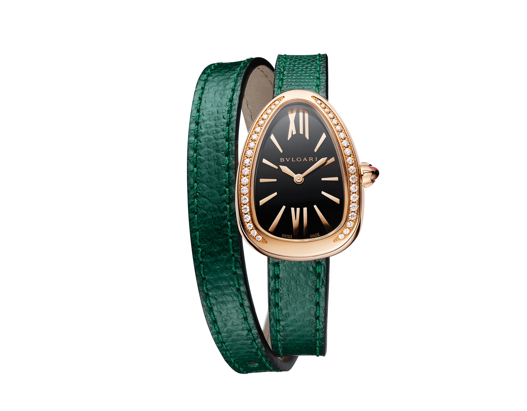 Serpenti watch with 18 kt rose gold case set with round brilliant-cut diamonds, black lacquered dial and interchangeable double spiral bracelet in green karung leather 102918 image 1