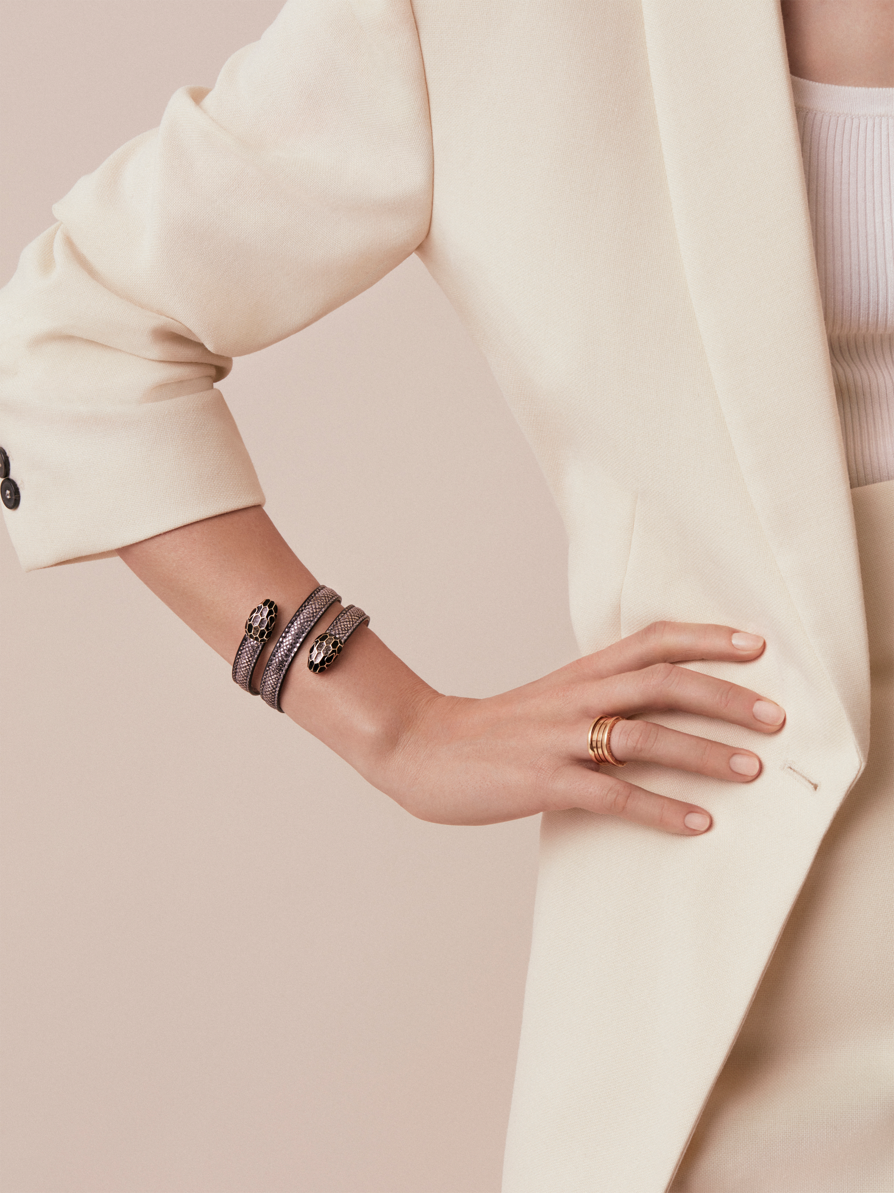 Serpenti Forever multi-coiled rigid Cleopatra bracelet in charcoal diamond metallic karung skin, with brass light gold plated hardware. Iconic double snakehead décor in black and glitter charcoal diamond enamel, with black enamel eyes. Cleopatra-MK-CD image 2