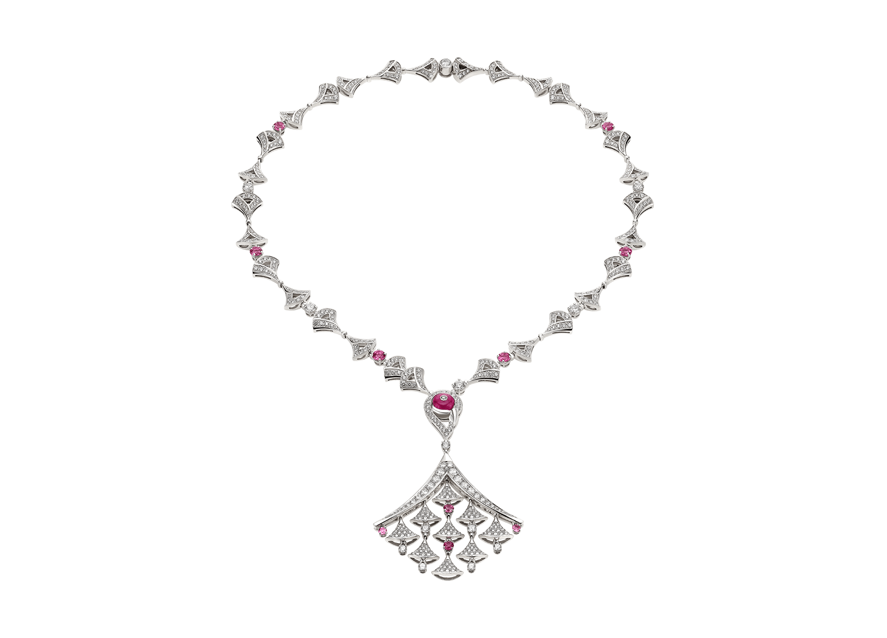 DIVAS' DREAM necklace in 18 kt white gold, set with pavé diamonds and pink rubellite. 354080 image 1