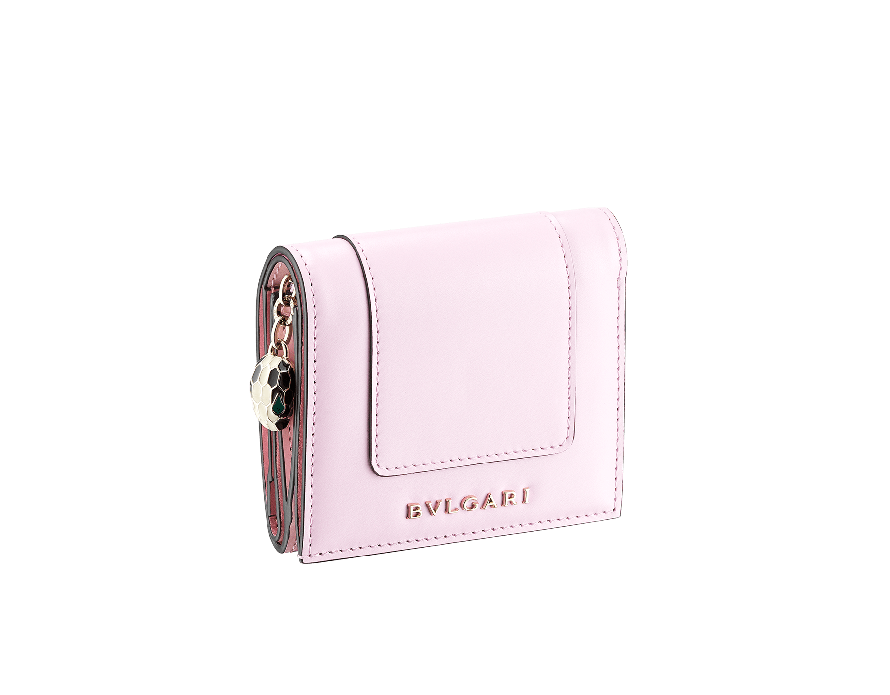 Serpenti Forever super compact wallet in rosa di francia and flamingo quartz calf leather. Iconic snakehead press stud closure in black and white enamel, with green malachite enamel eyes. 289061 image 1