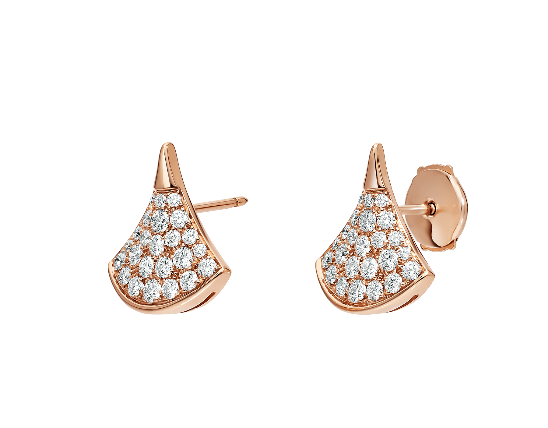 DIVAS' DREAM stud earrings in 18 kt rose gold, set with pavé diamonds (0.90 ct). 352601 image 2