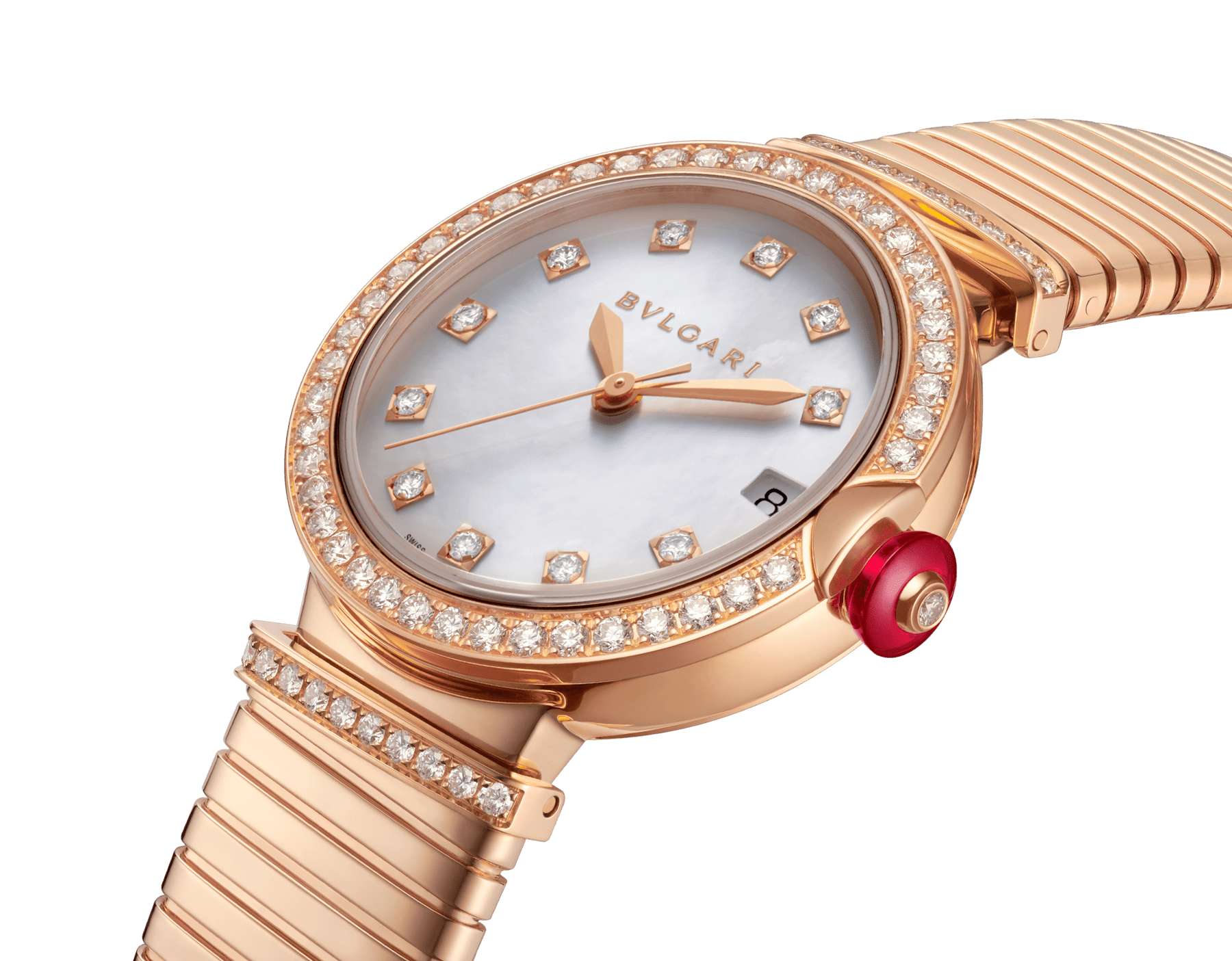 LVCEA Tubogas watch with 18 kt rose gold case set with diamonds, white mother-of-pearl dial, diamond indexes and 18 kt rose gold tubogas bracelet 103034 image 2