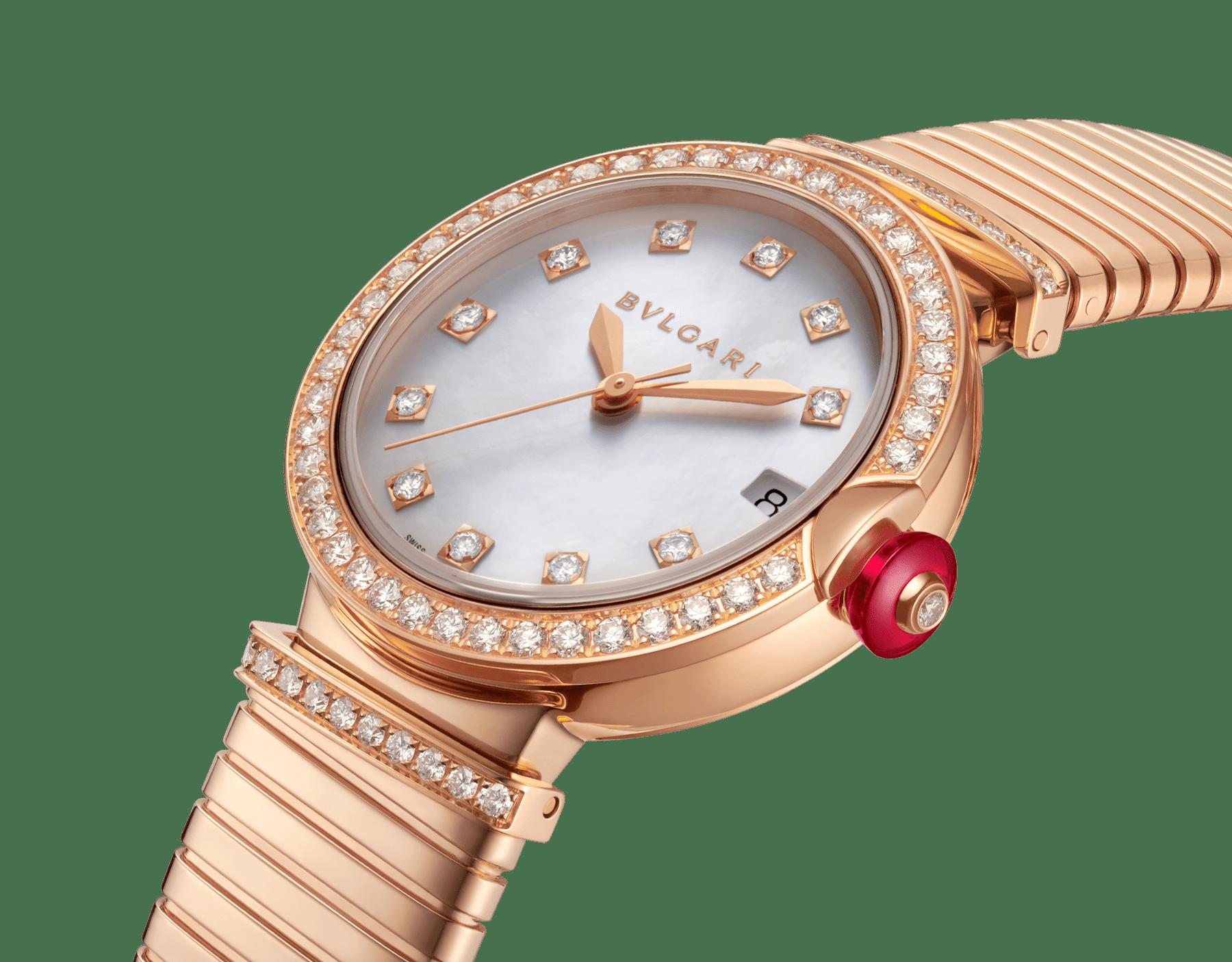 Relógio LVCEA Tubogas com caixa em ouro rosa 18K cravejada com diamantes, mostrador em madrepérola branca, índices de diamante e pulseira tubogas em ouro rosa 18K 103034 image 2