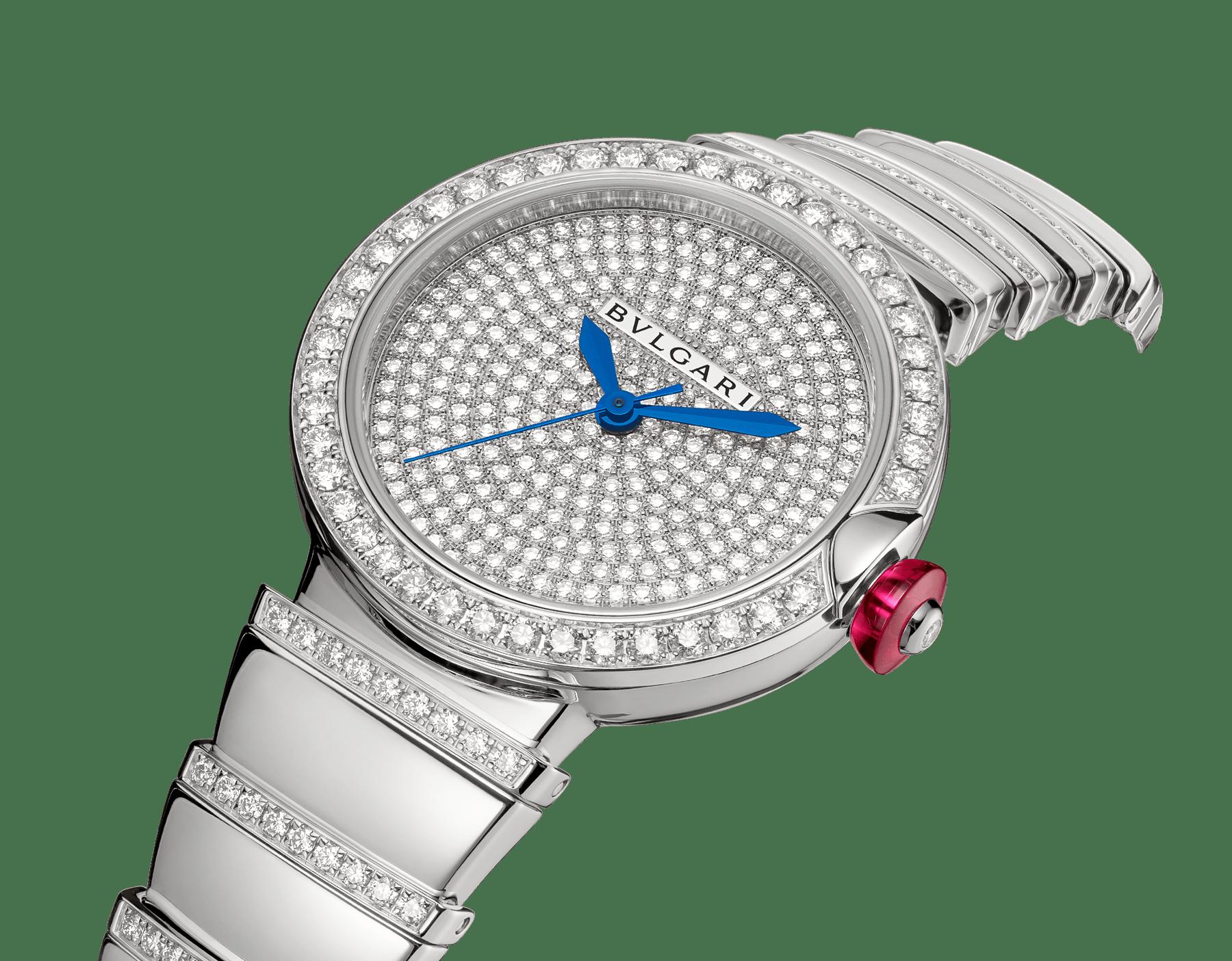 루체아 워치. 18kt 화이트 골드 소재에 브릴리언트컷 다이아몬드가 세팅된 케이스와 브레이슬릿, 풀 파베 다이아몬드 다이얼 102380 image 2