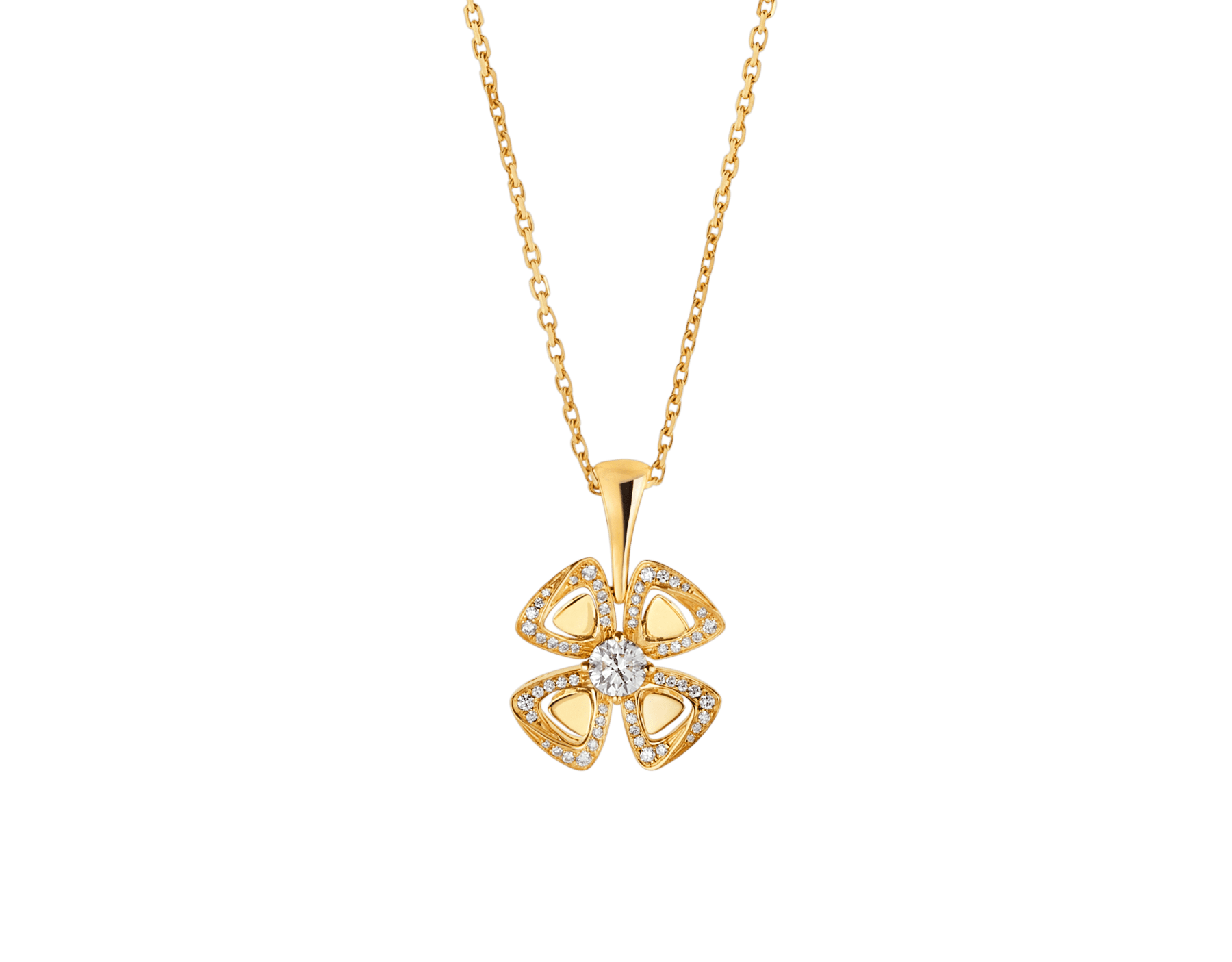 Fiorever 18 kt yellow gold necklace set with a central diamond and pavé diamonds. 357504 image 1