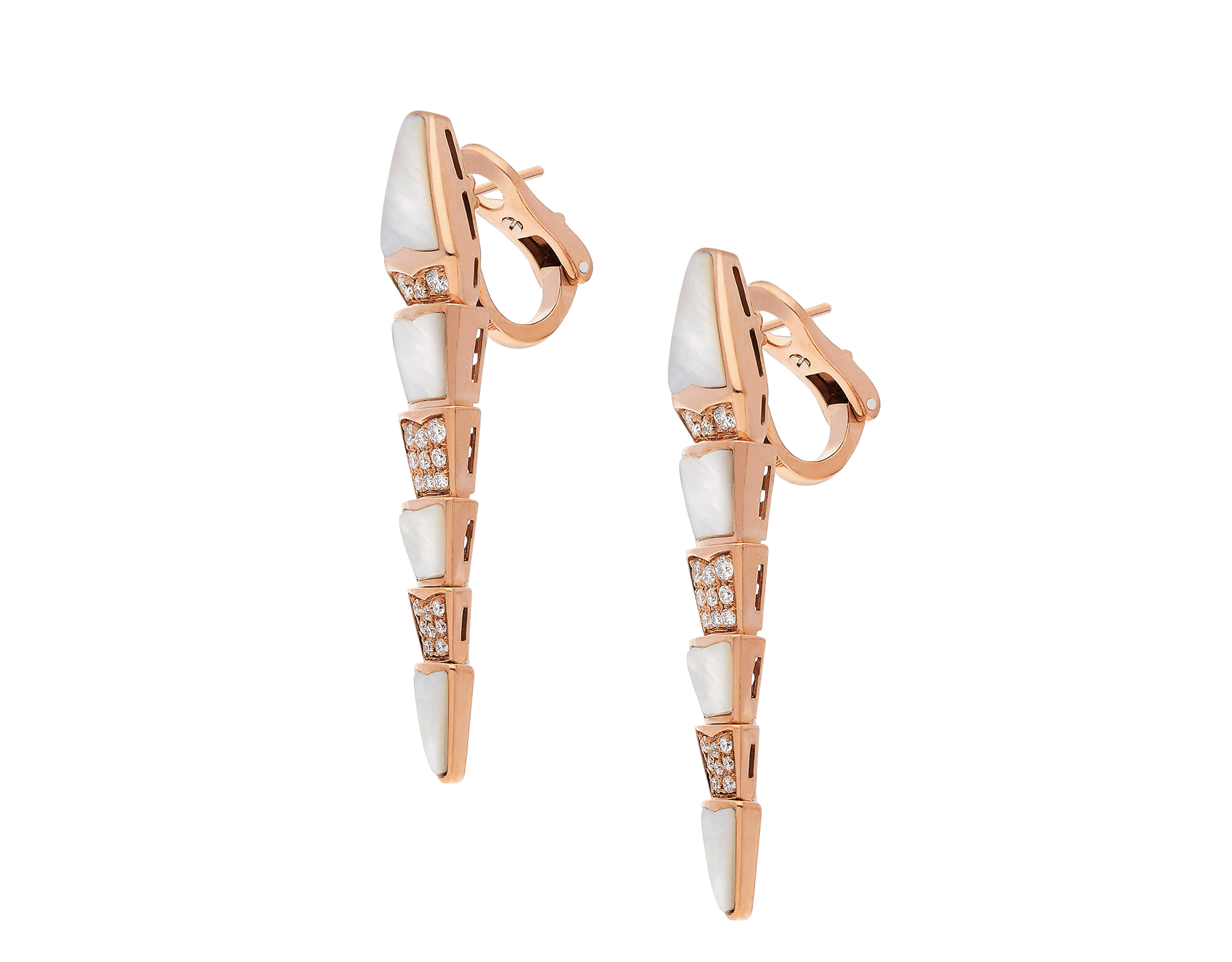 Serpenti earrings in 18 kt rose-gold set with mother-of-pearl elements and pavé diamonds. 350678 image 2