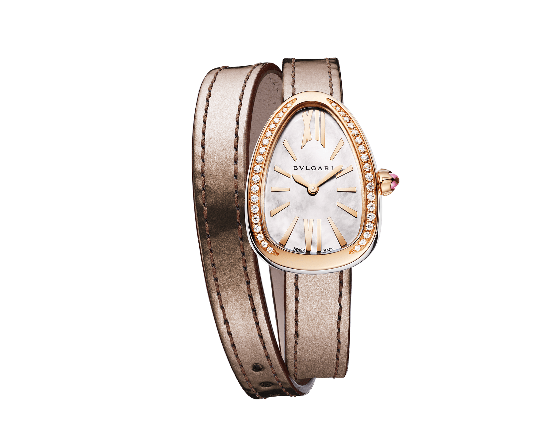 Serpenti watch with stainless steel case, 18 kt rose gold bezel set with round brilliant-cut diamonds, white mother-of-pearl dial and interchangeable double spiral bracelet in brown leather 103059 image 1