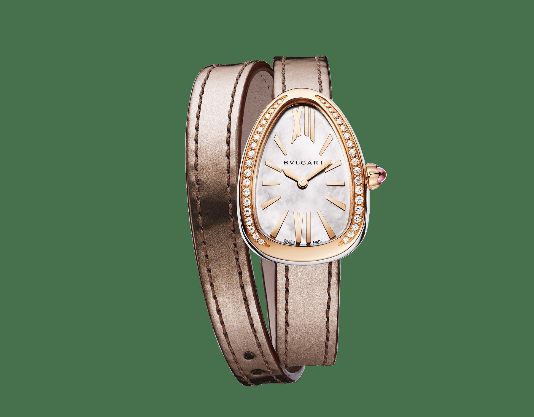 Relógio Serpenti com caixa em aço, bezel em ouro rosa 18K cravejado com diamantes redondos lapidação brilhante, mostrador em madrepérola branca e pulseira de duas voltas intercambiável em couro marrom 103059 image 1