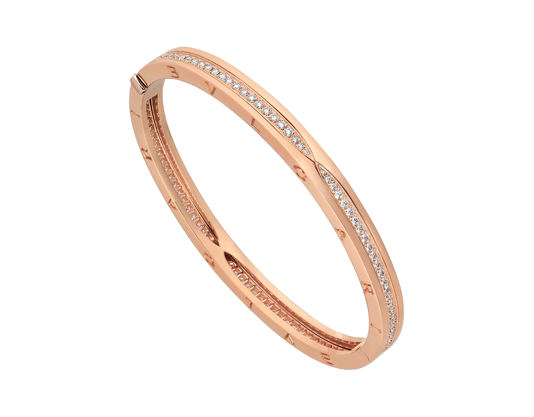 B.zero1 bangle bracelet in 18 kt rose gold, set with pavé diamonds on the spiral. BR857372 image 1