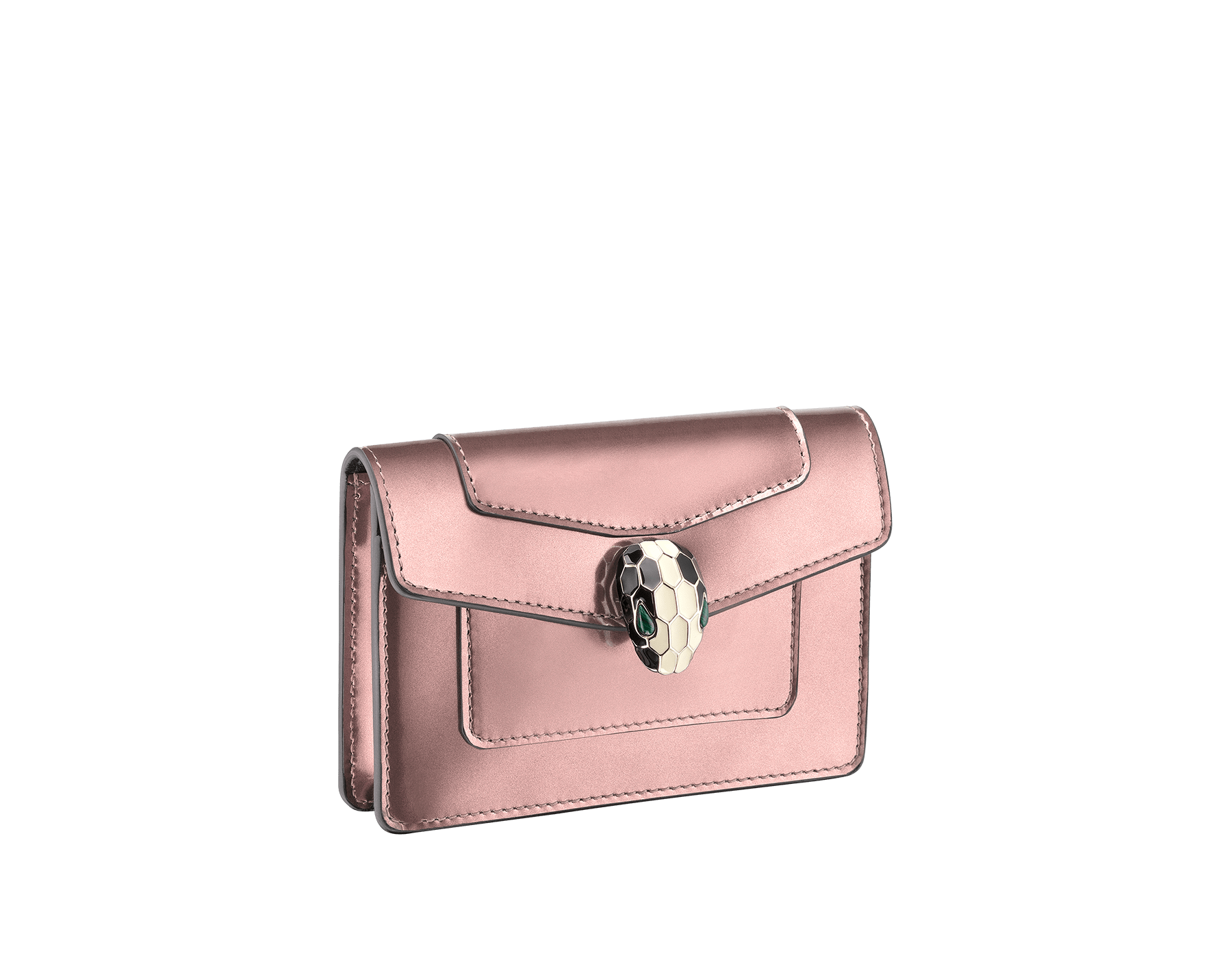 Pocket credit card holder in rose quartz brushed metallic calf leather and black calf leather, with black nappa lining. Brass light gold plated Serpenti head stud closure in black and white enamel, with eyes in green malachite. 285820 image 1