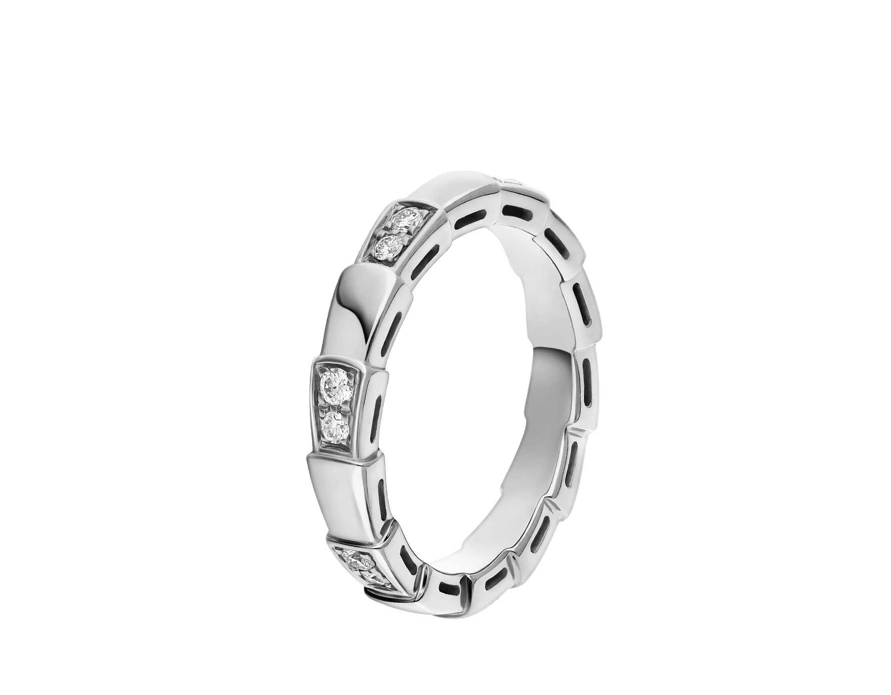Serpenti Viper band ring in 18 kt white gold, set with demi-pavé diamonds. AN857898 image 1