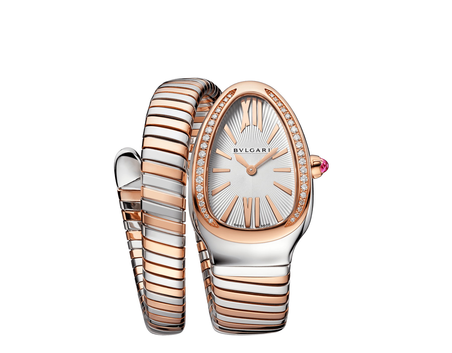 Serpenti Tubogas single spiral watch with stainless steel case, 18 kt rose gold bezel set with brilliant cut diamonds, silver opaline dial, 18 kt rose gold and stainless steel bracelet. 102237 image 1