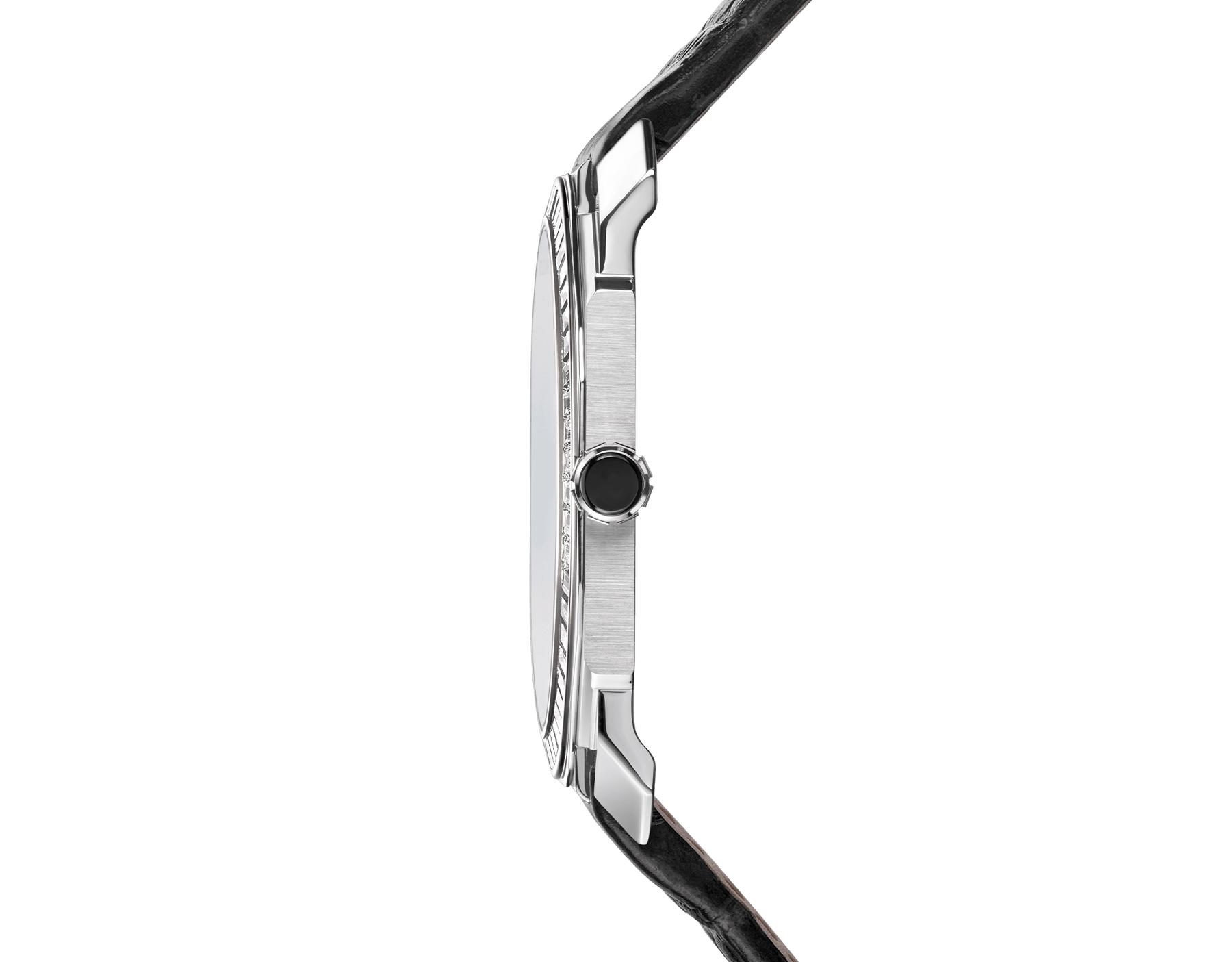 Octo Finissimo Tourbillon Limited Edition watch with extra thin mechanical manufacture movement and manual winding, platinum case, bezel set with baguette-cut diamonds, black lacquered dial with tourbillon see-through opening and black alligator bracelet. 102401 image 3