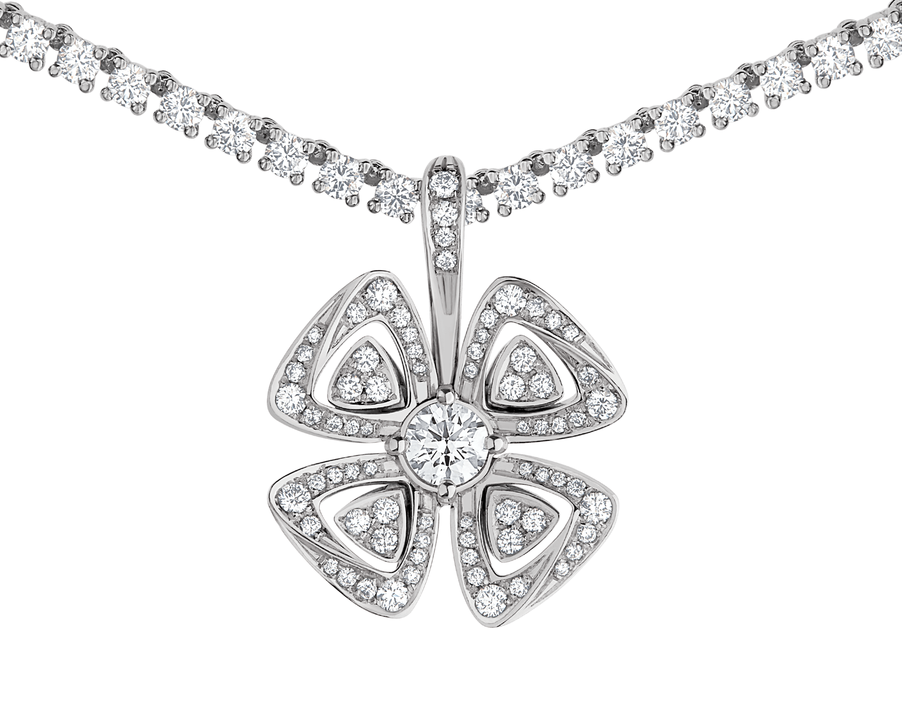 Fiorever 18 kt white gold convertible pendant necklace set with brilliant-cut diamonds (5.55 ct) and pavé diamonds (0.41 ct) 358351 image 3