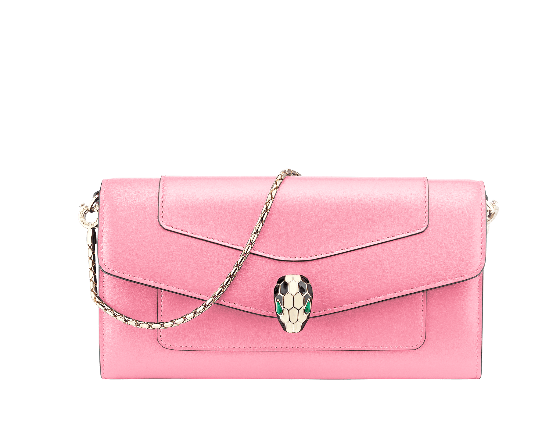 Serpenti Forever wallet pouch in flamingo quartz and roman garnet calf leather. Iconic snakehead stud closure in black and white enamel, with green malachite eyes. 288022 image 1