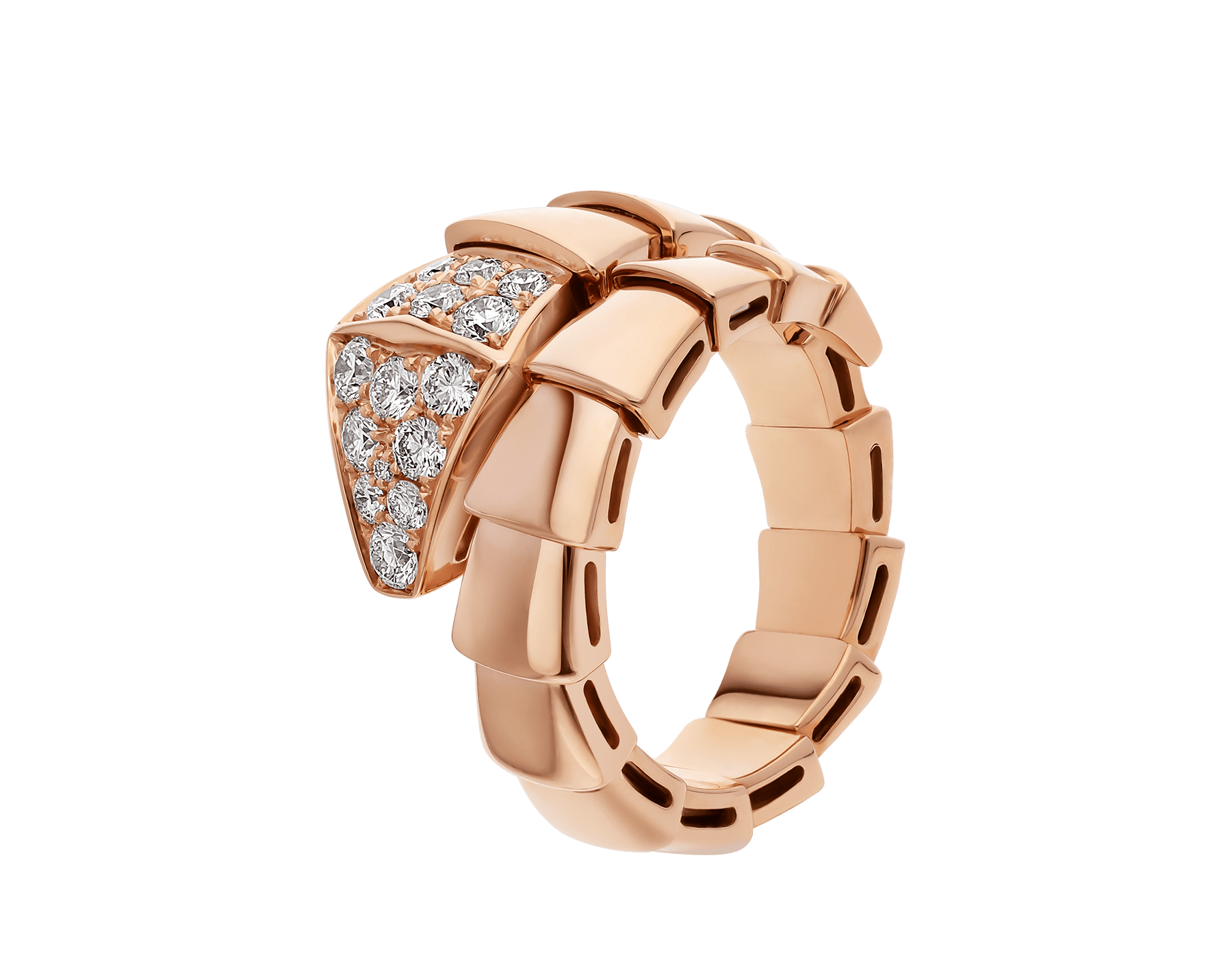 Serpenti Viper one-coil ring in 18 kt rose gold, set with pavé diamonds on the head. AN855318 image 1