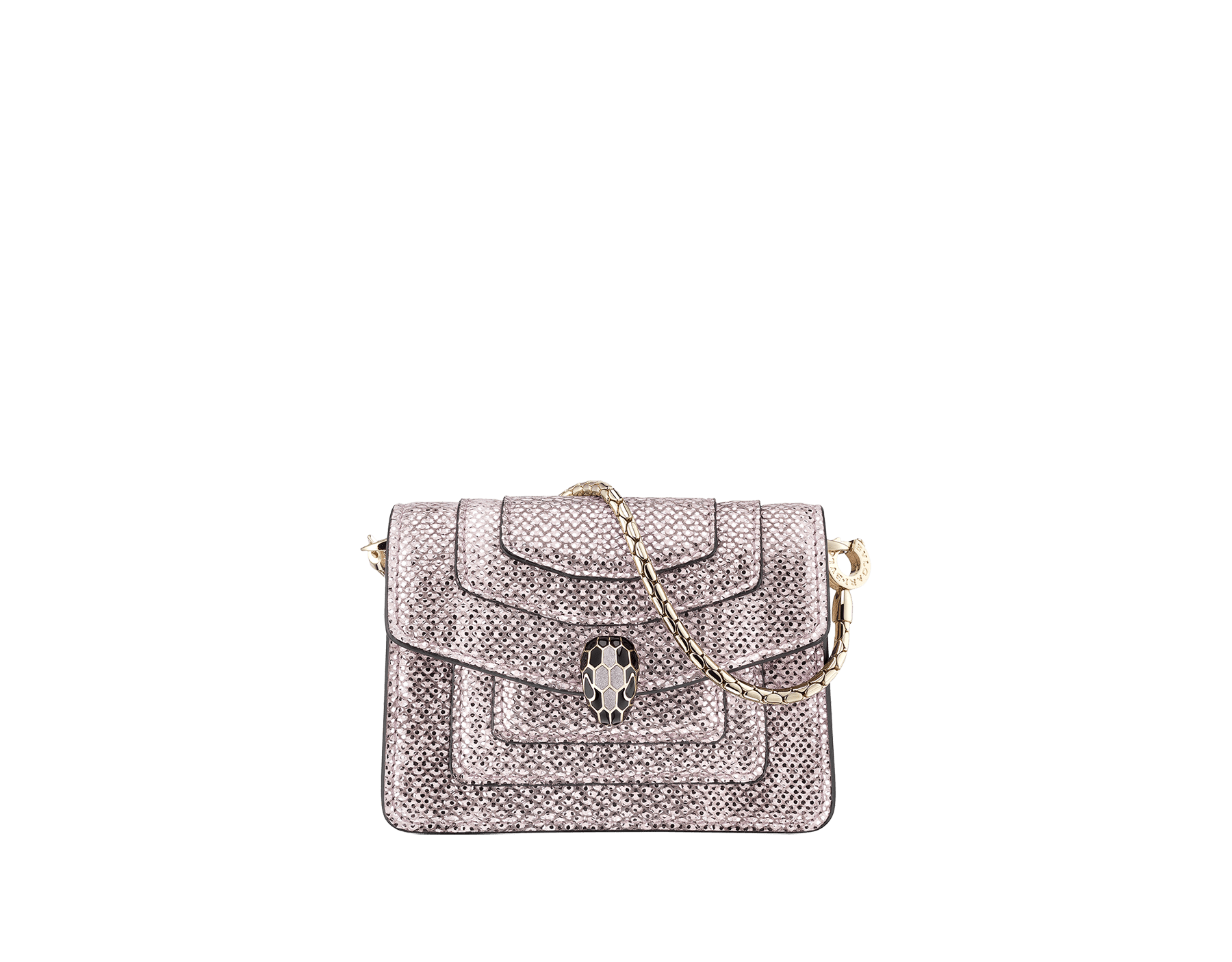 Serpenti Forever miniature bag charm in rosa di francia metallic karung skin, with black calf leather lining. Iconic brass light gold plated snakehead press stud closure enamelled in black and glitter rosa di francia, finished with black enamel eyes. 289067 image 1