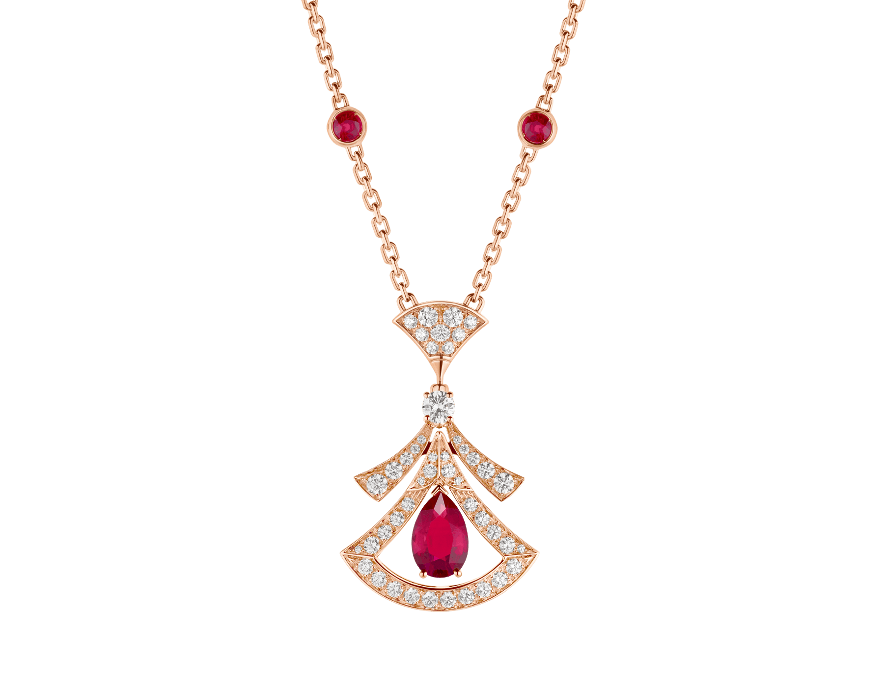 DIVAS' DREAM 18 kt rose gold openwork necklace set with a pear-shaped ruby, round brilliant-cut rubies, a round brilliant-cut diamond and pavé diamonds. 356953 image 1