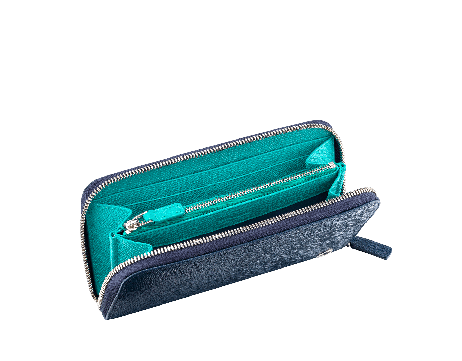 BVLGARI BVLGARI man zipped wallet in denim sapphire and tropical tourquoise grain calf leather and black nappa lining. Iconic logo décor in palladium plated brass. 288254 image 2