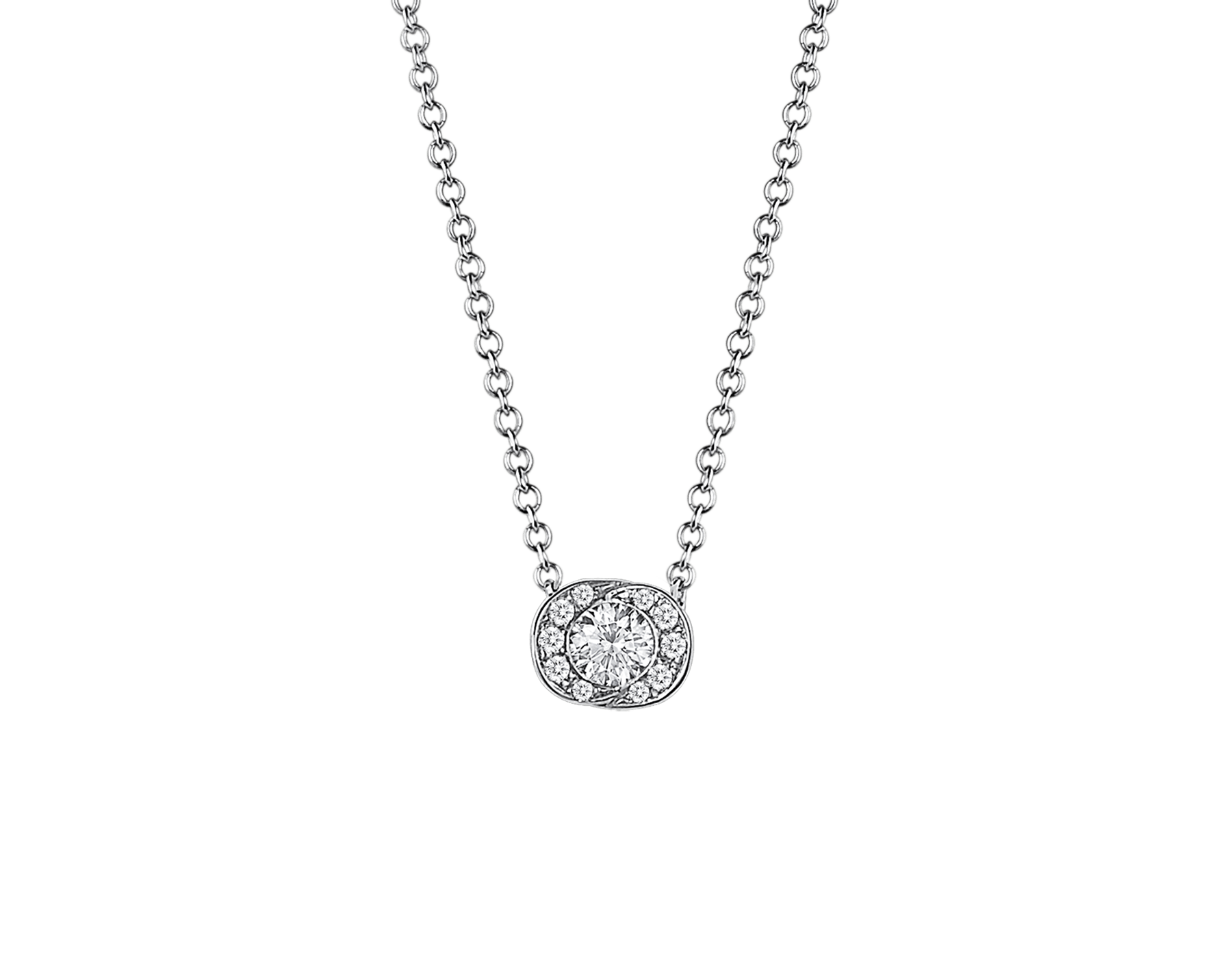 Incontro d'Amore necklace with 18 kt white gold chain, 18 kt white gold pendant set with a central diamond (0.10 ct) and pavé diamonds. 355249 image 1
