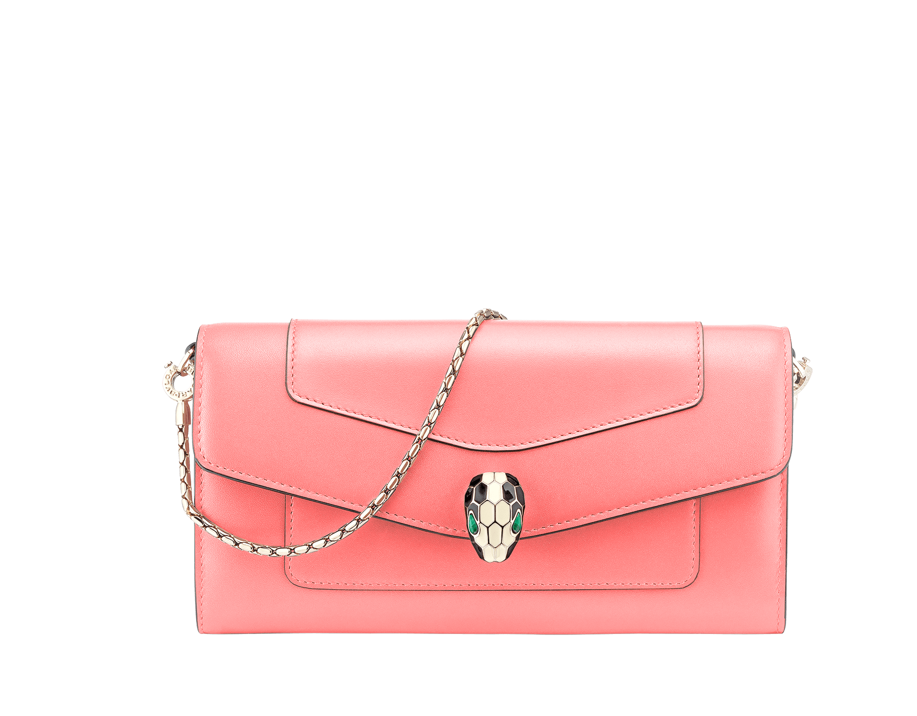 Serpenti Forever wallet pouch in silky coral and flamingo quartz calf leather. Iconic snakehead charm in black and white enamel with green malachite eyes. 288837 image 1