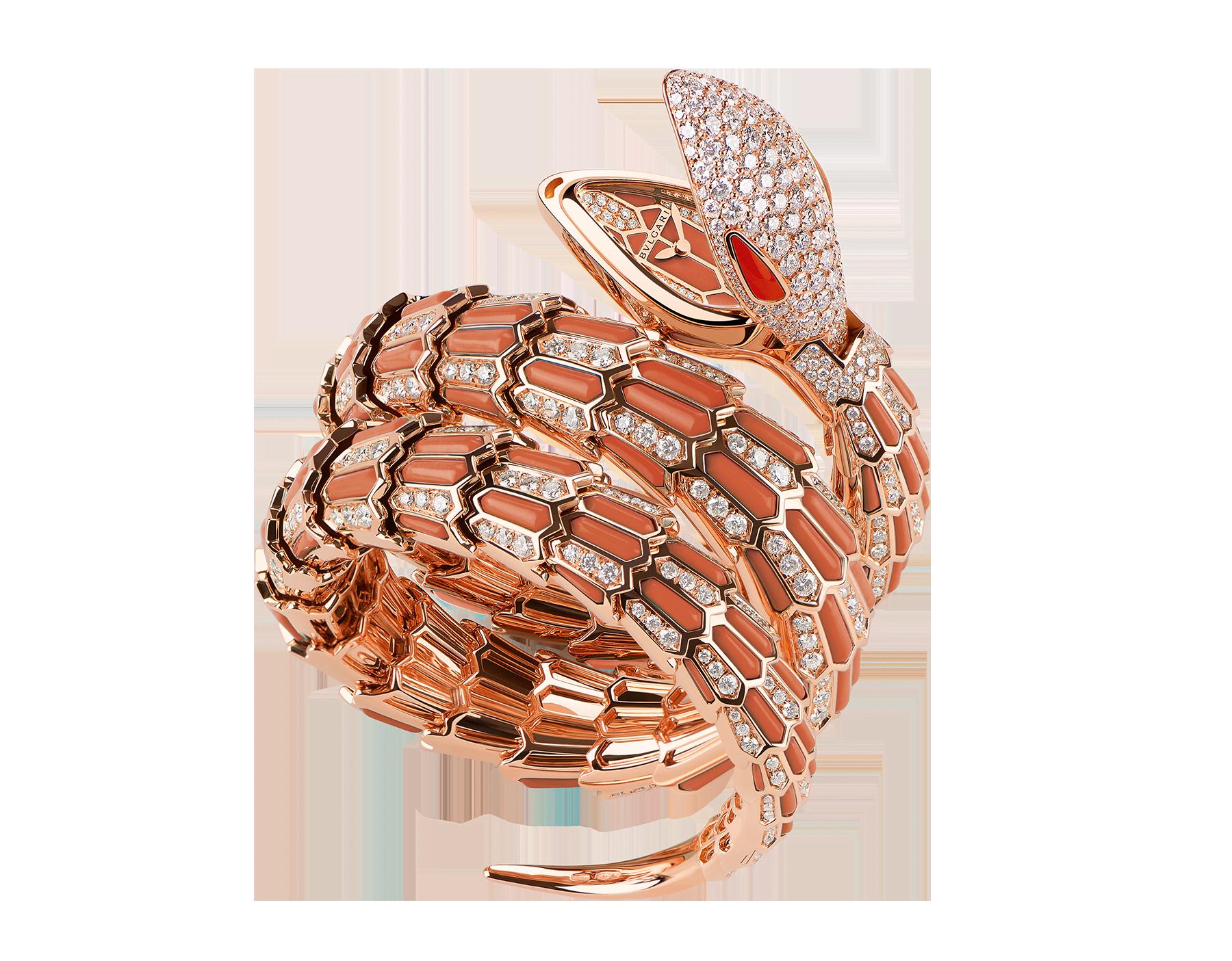 Serpenti Secret Watch 腕錶,18K 玫瑰金錶殼,18K 玫瑰金蛇頭、錶盤和雙圈螺旋錶帶鑲飾明亮型切割鑽石和珊瑚元素。 102143 image 1