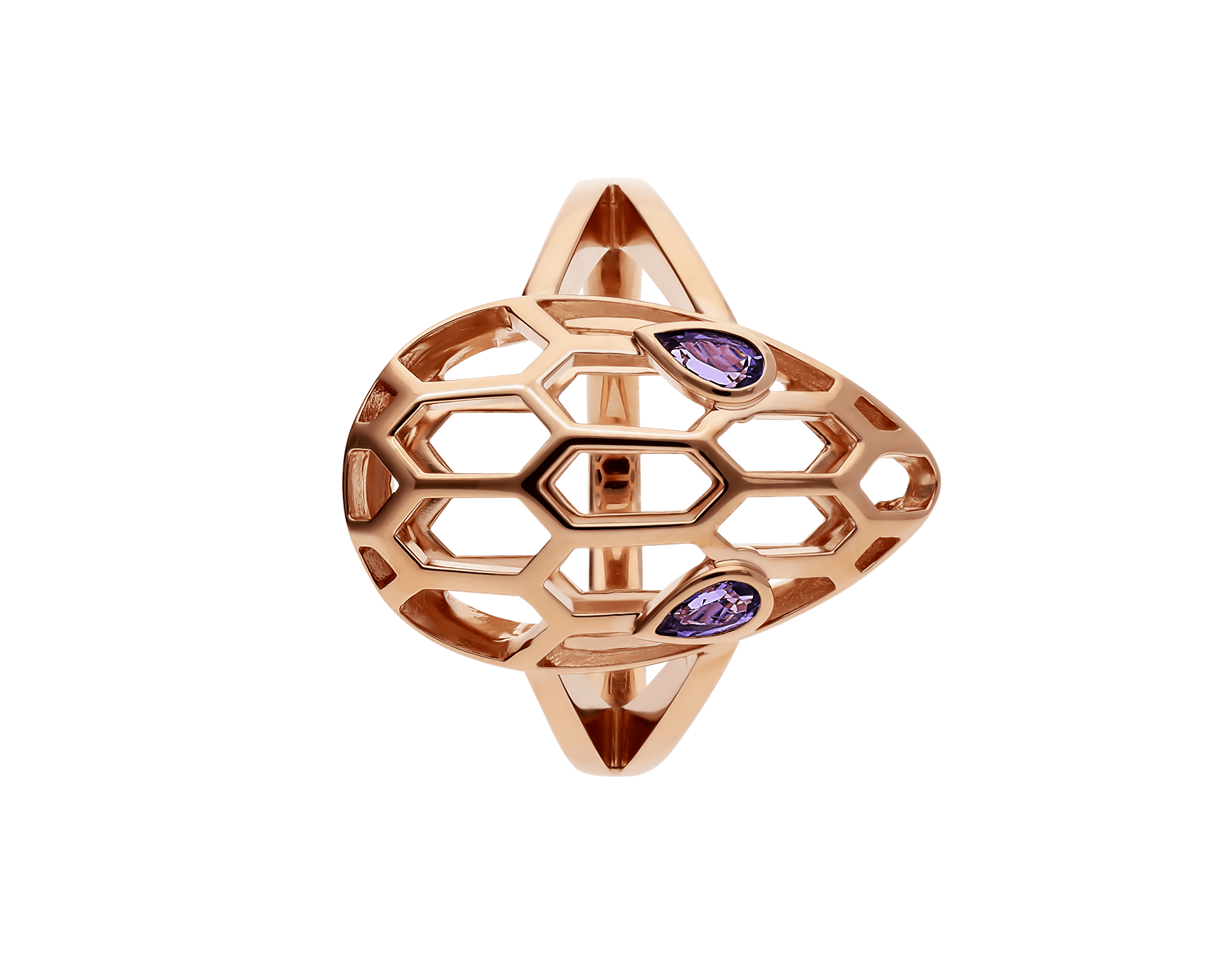 Serpenti ring in 18 kt rose gold, set with amethyst eyes. AN857656 image 2