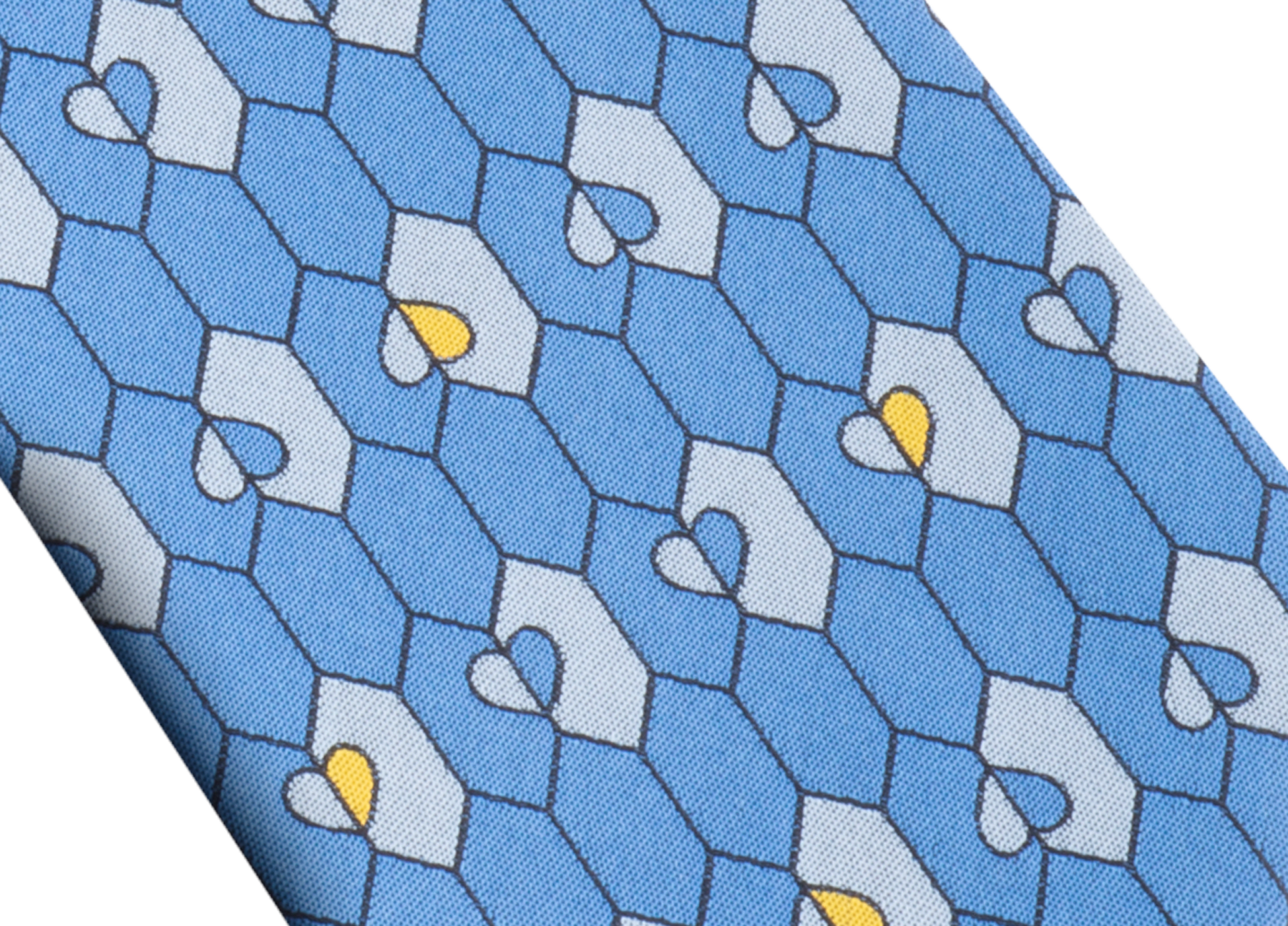 Cravate sept plis Queen of Hearts bleu clair en jacquard de soie fine. 244127 image 2