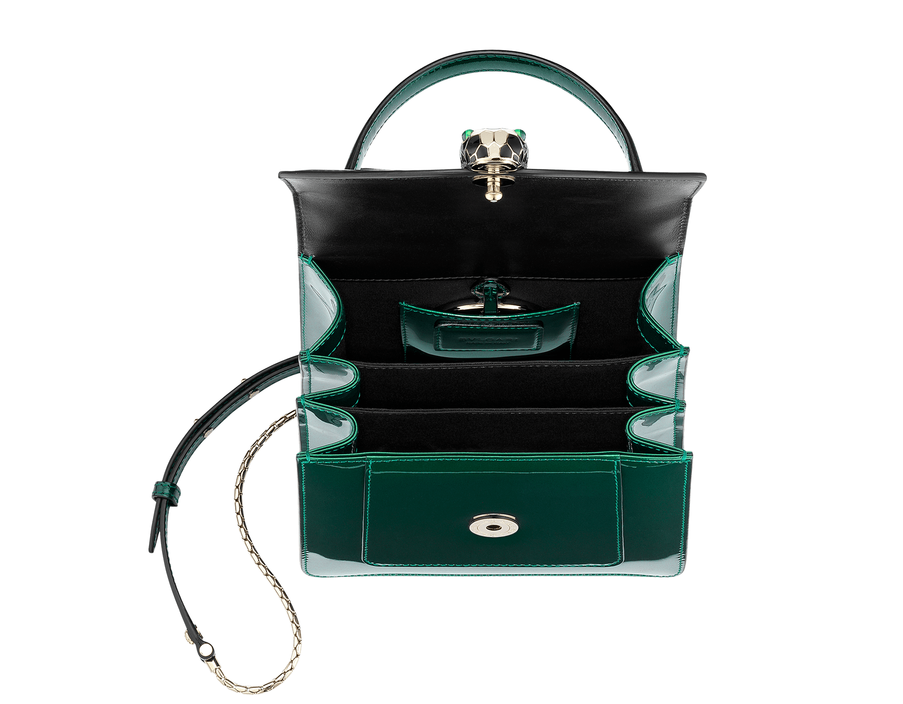Flap cover bag Serpenti Forever in forest emerald brushed metallic calf leather. Brass light gold plated hardware and snake head closure in black and white enamel with eyes in green malachite. 752-BMCLb image 2