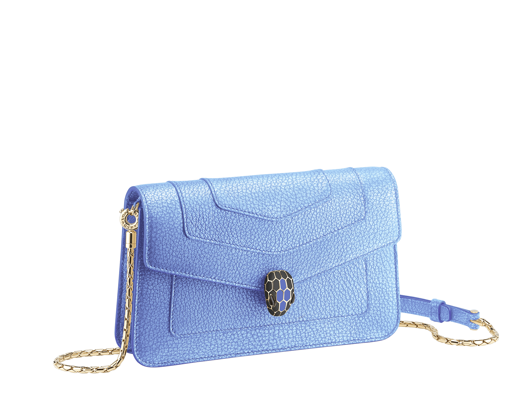 """""""Serpenti Forever"""" new chain wallet in Charcoal Diamond gray goatskin with a pearled effect and black nappa leather. Dark ruthenium-plated brass iconic snakehead stud closure enameled in matte and shiny black, finished with black onyx eyes. SEA-CHAINPOCHETTE-PSL image 1"""