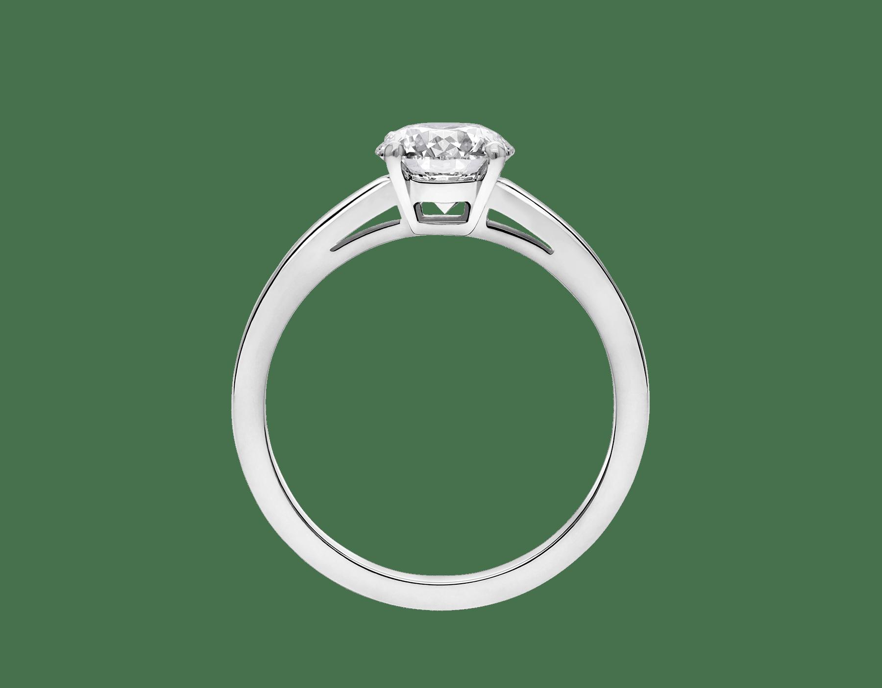 Solitaire Griffe en platine serti d'un diamant rond taille brillant AN201215 image 4