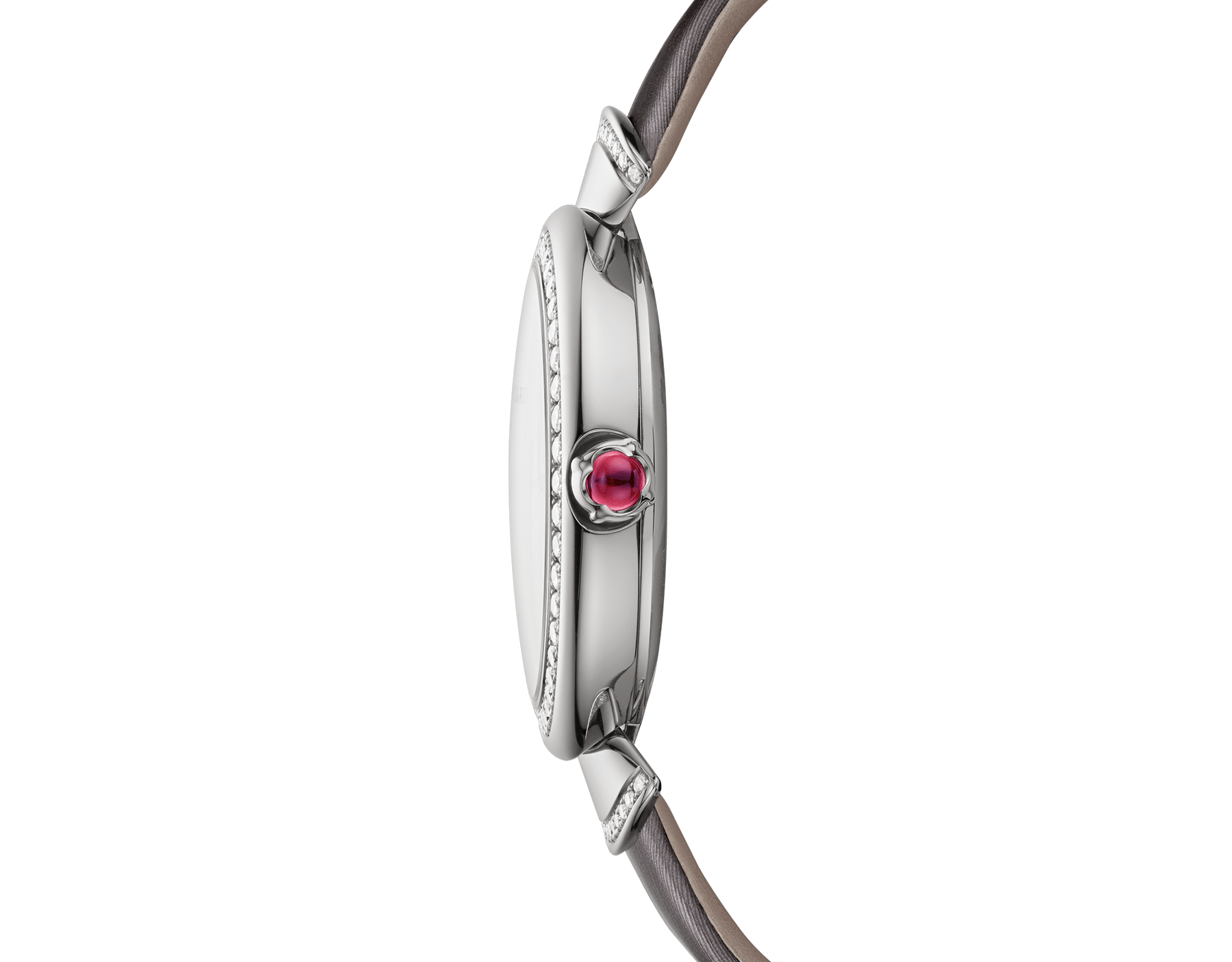 DIVAS' DREAM watch with 18 kt white gold case set with brilliant-cut diamonds, acetate dial, diamond indexes and grey satin bracelet 102576 image 3