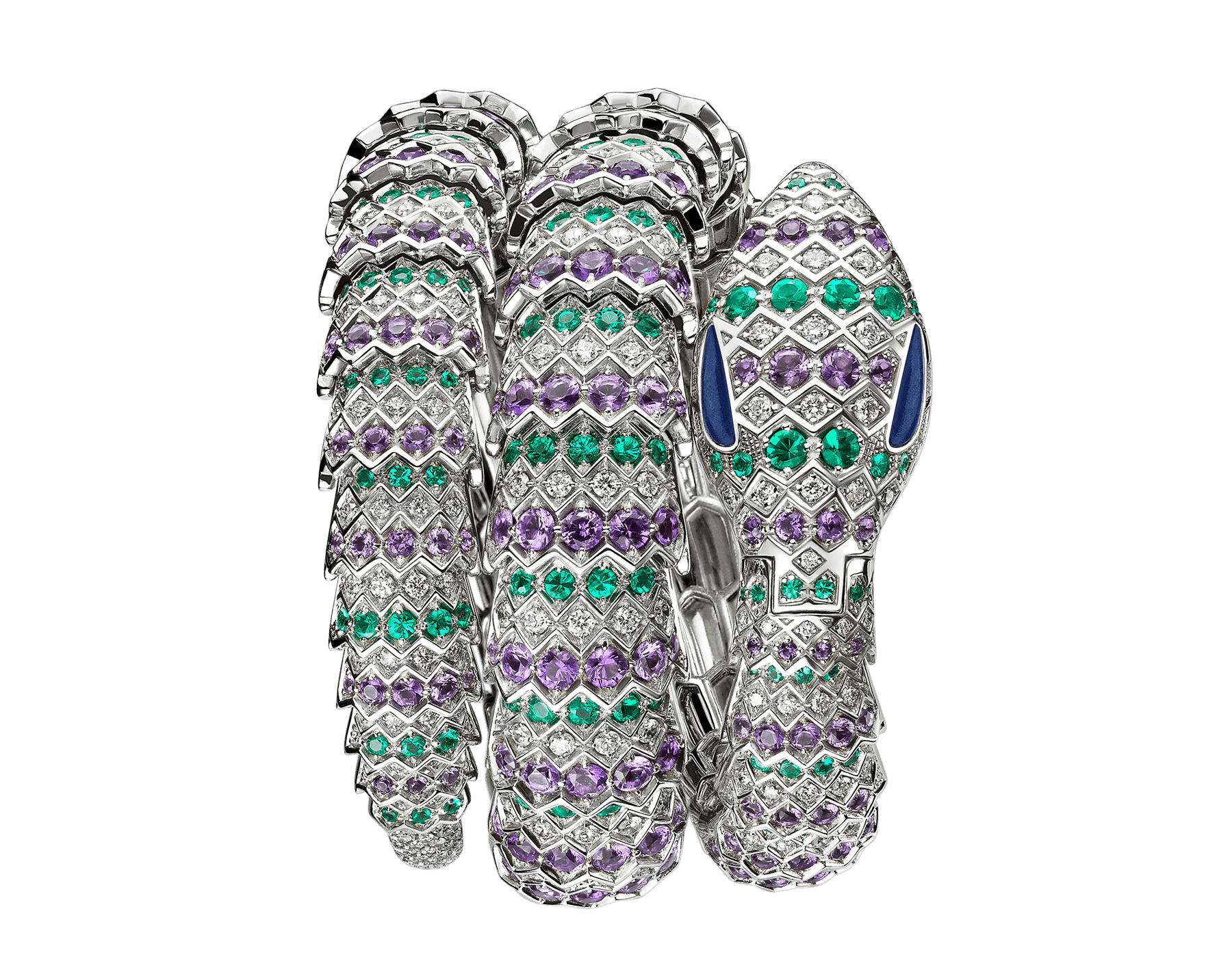 Serpenti Secret Watch with 18 kt white gold head set with brilliant cut diamonds, amethysts emeralds and malachite eyes, 18 kt white gold case, 18 kt white gold dial and double spiral bracelet, both set with brilliant cut diamonds, amethysts and emeralds. 101864 image 1