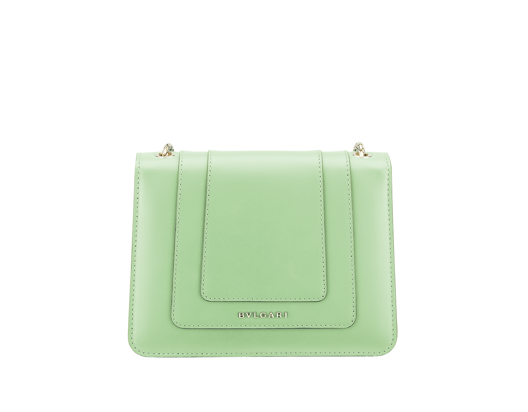 """Serpenti Forever"" crossbody bag in mint calf leather. Iconic snakehead closure in light gold plated brass enriched with black and white agate enamel, and green malachite eyes. 422-CLd image 3"
