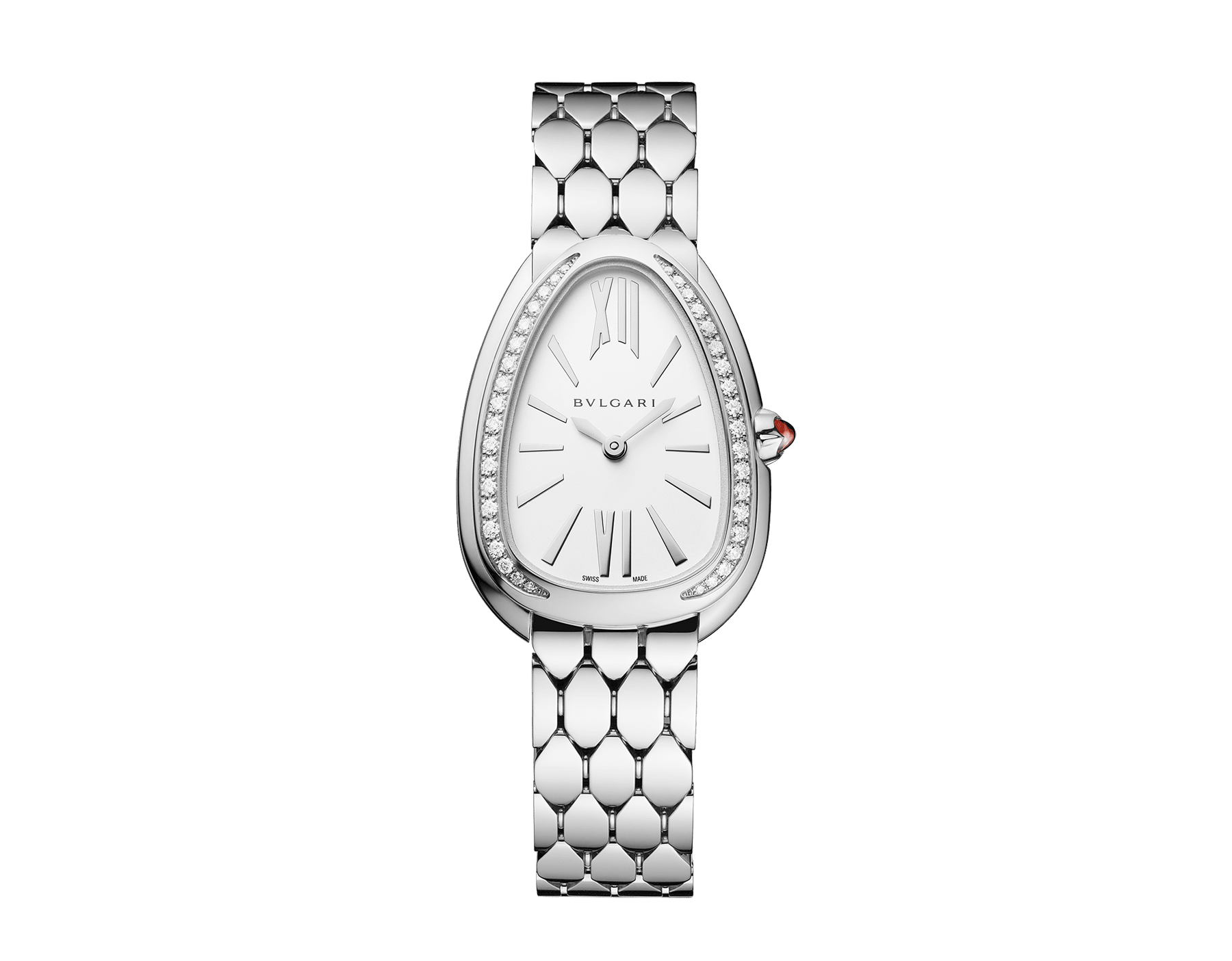 Serpenti Seduttori watch in stainless steel case and bracelet, stainless steel bezel set with diamonds and white silver opaline dial 103361 image 1