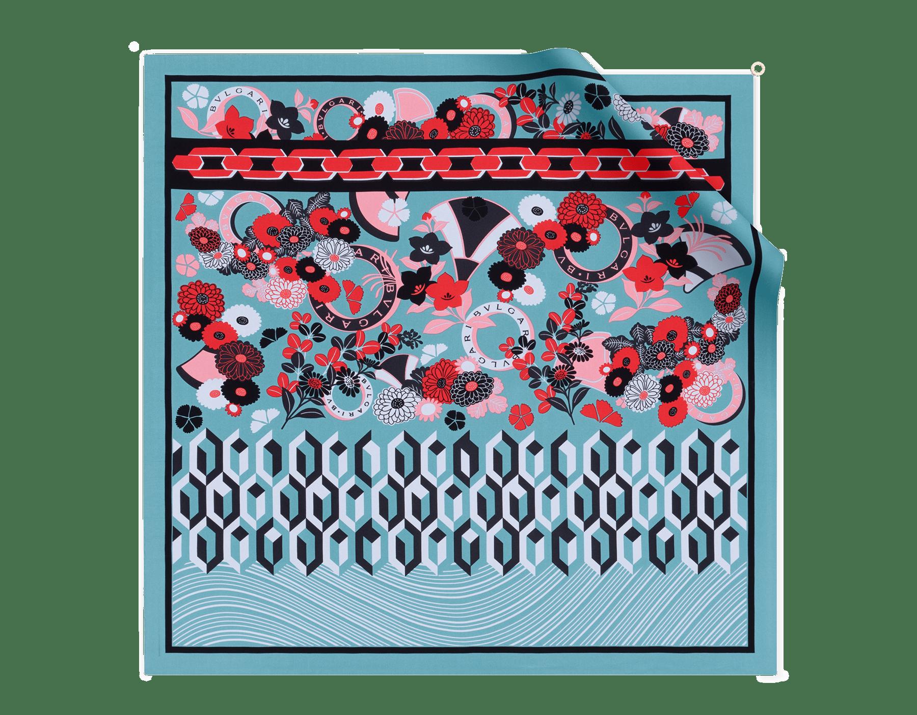 Платок Flower Patch цвета арктического нефрита, тонкая шелковая саржа. 243937 image 1