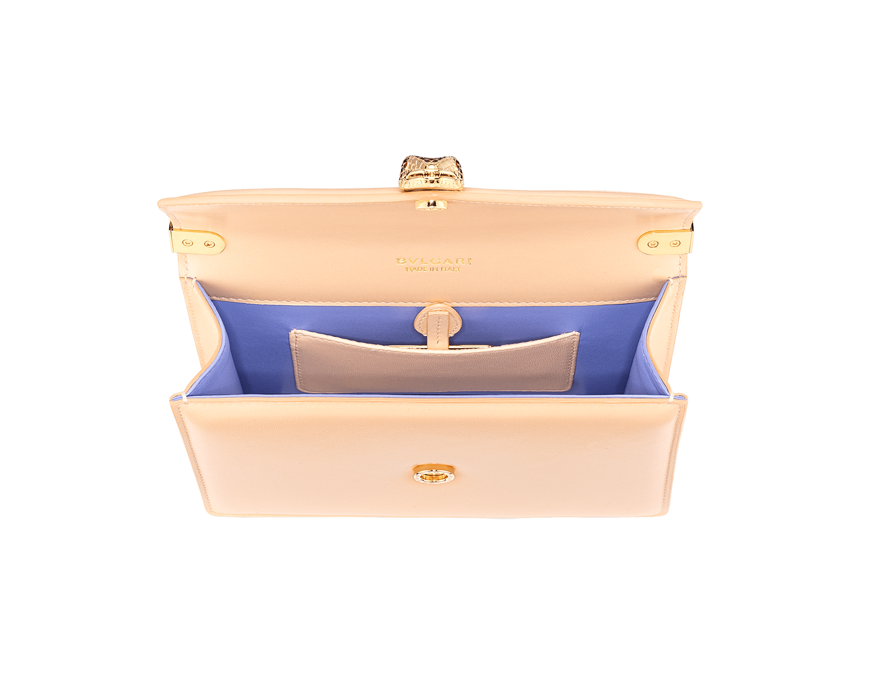 """Serpenti Forever"" multichain shoulder bag in peach ""Papier"" nappa leather, with Lavender Amethyst lilac nappa leather inner lining. New Serpenti head closure in gold-plated brass, finished with red enamel eyes. 1107-NP image 4"