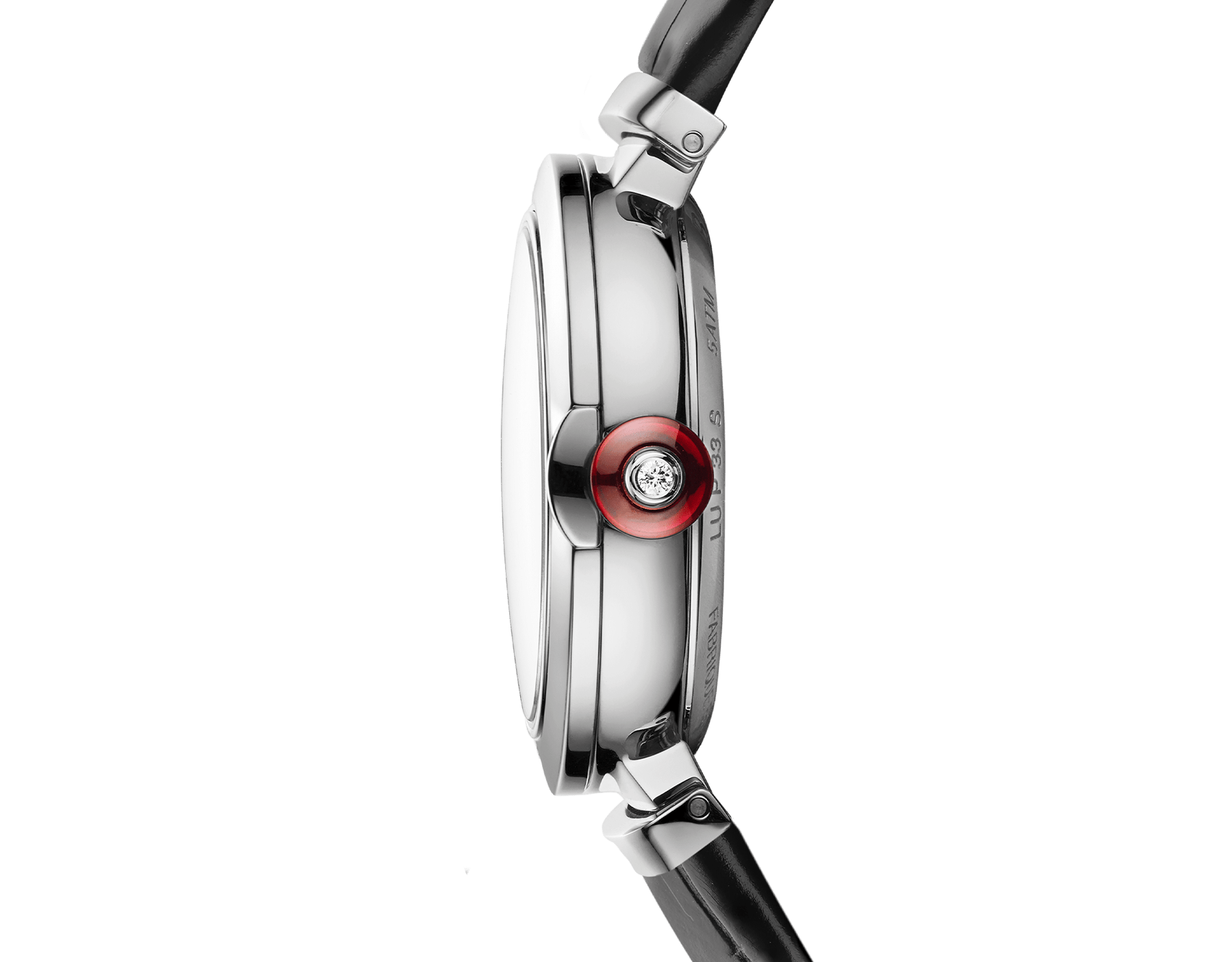 LVCEA Uhr mit Gehäuse aus Edelstahl, Zifferblatt mit weißem Perlmutt-Intarsio, Diamantindizes und schwarzem Armband aus Alligatorleder 103478 image 3