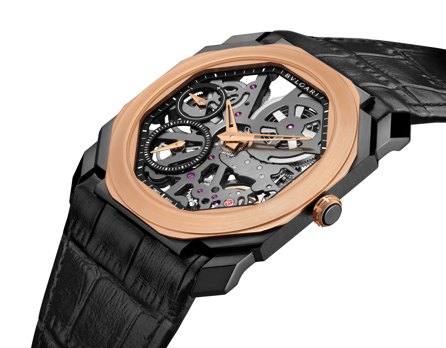 Octo Finissimo watch with extra thin mechanical skeletonized manufacture movement, manual winding, small seconds and power reserve indication, stainless steel case treated with black Diamond Like Carbon, 18 kt rose gold bezel, transparent dial and black alligator bracelet. 102469 image 2