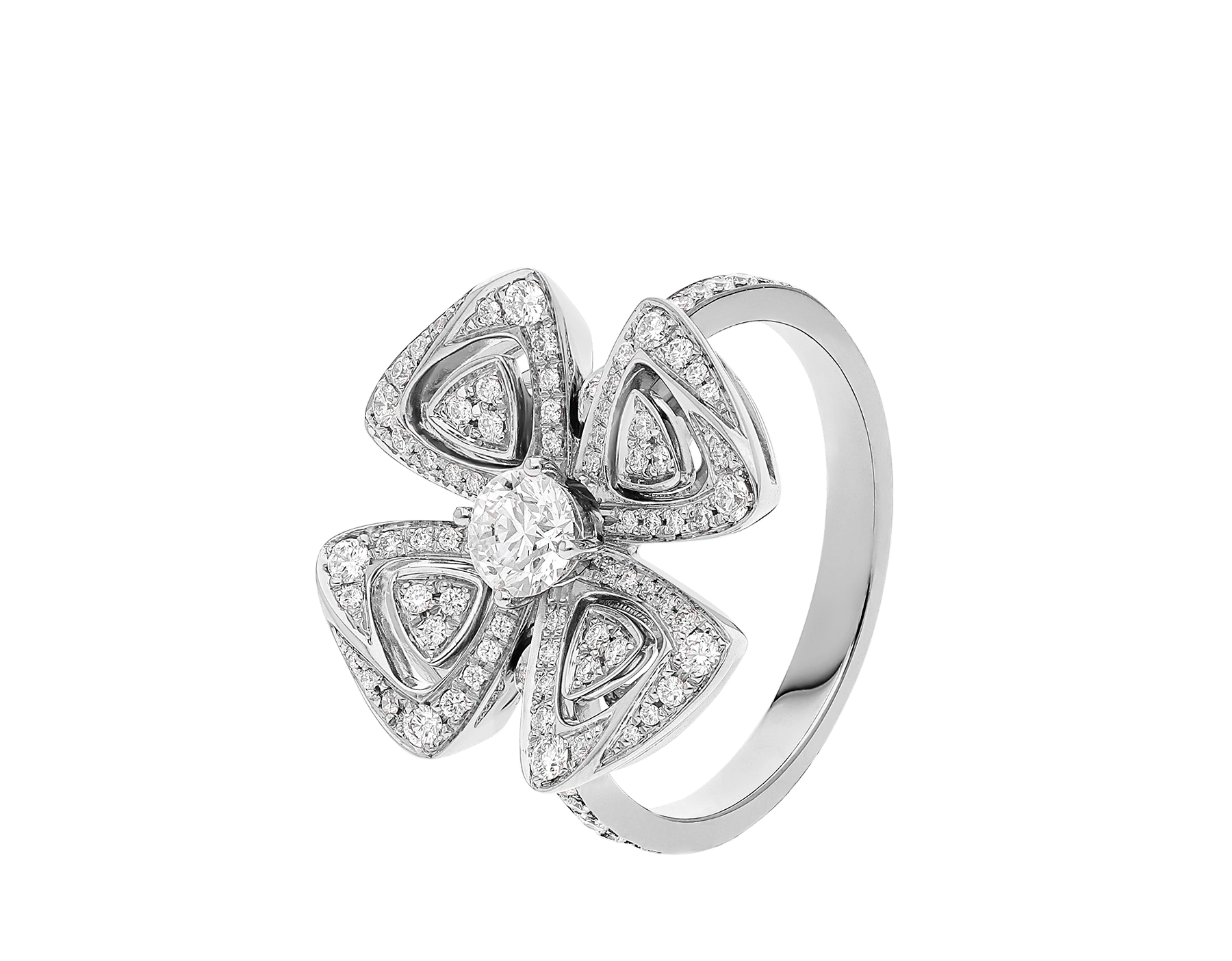 Fiorever 18 kt white gold ring set with a central diamond and pavé diamonds. AN858168 image 1