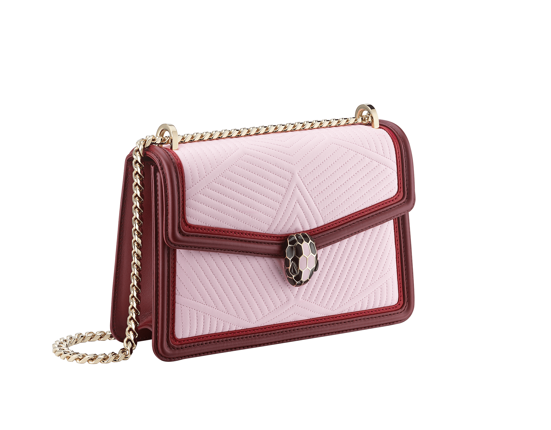 """Serpenti Diamond Blast"" shoulder bag in rosa di francia quilted calf leather and Roman garnet calf leather frames. Iconic snakehead closure in light gold plated brass enriched with black and rosa di francia enamel and black onyx eyes. 289462 image 2"