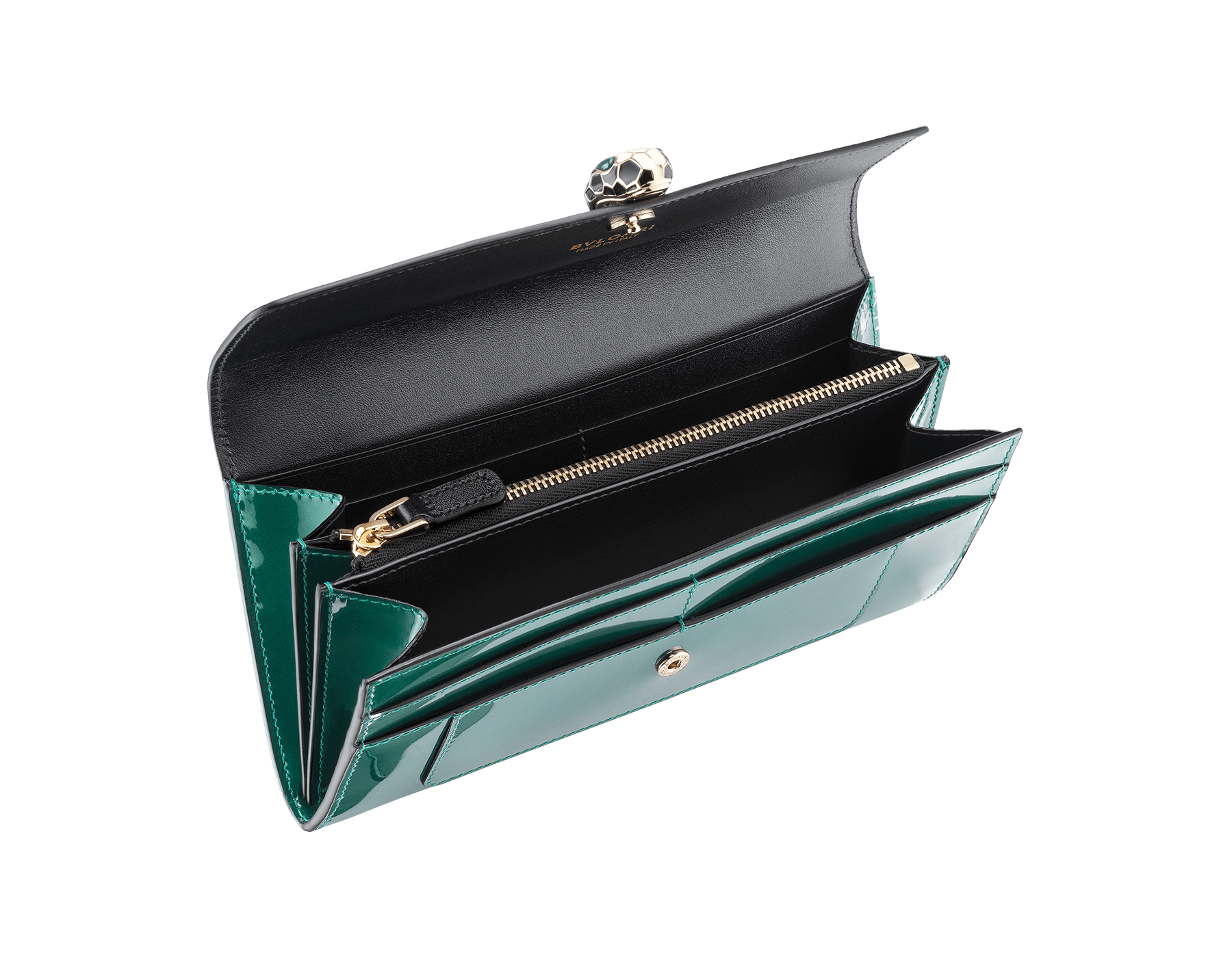 Wallet pochette in forest emerald brushed metallic calf leather and black calf leather with black nappa lining. Brass light gold plated hardware. Serpenti head stud closure in black and white enamel with eyes in green malachite. 283675 image 2