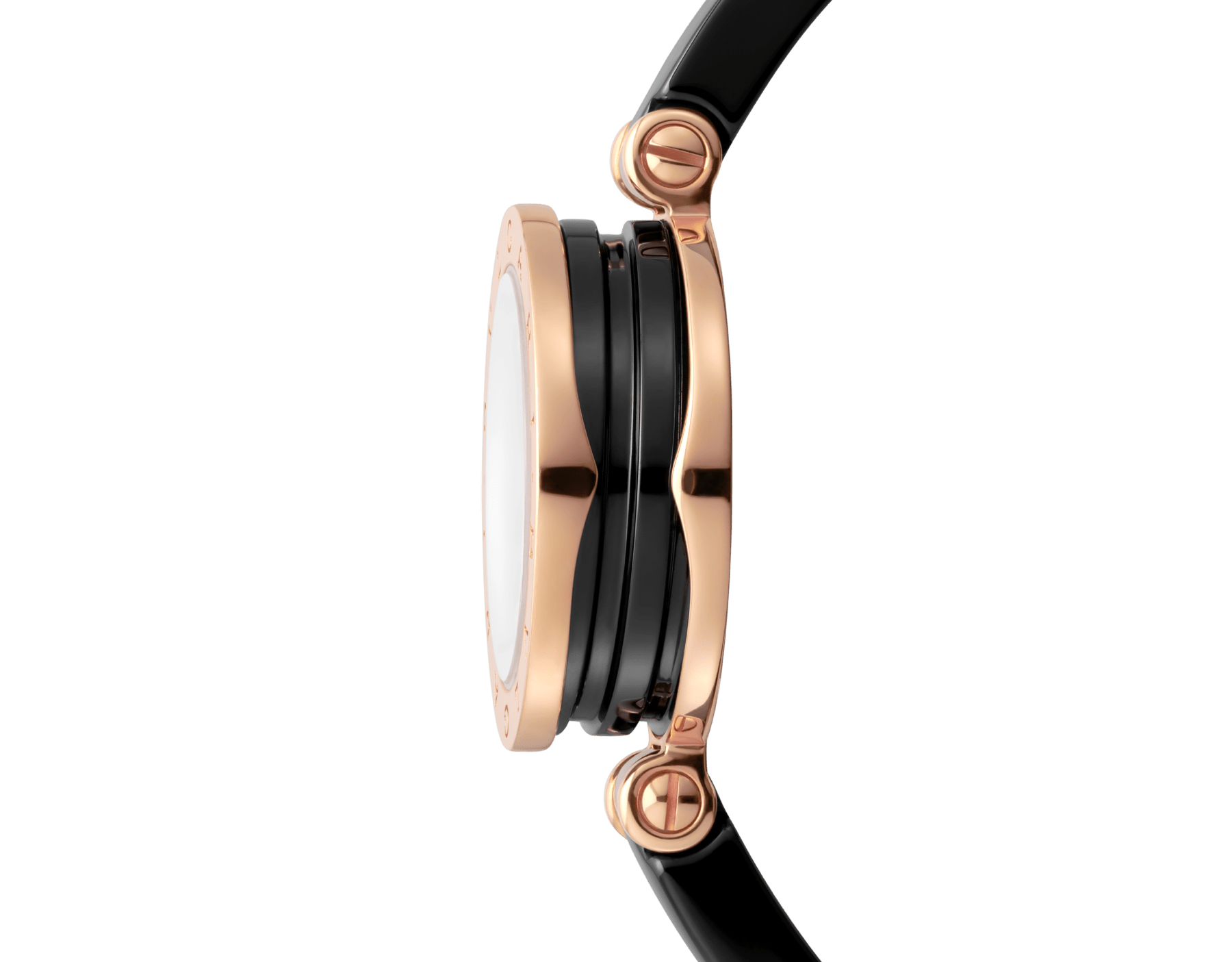 B.zero1 watch with 18 kt rose gold and black ceramic case, black lacquered dial set with diamond indexes, black ceramic bangle and 18 kt rose gold clasp. B01watch-black-black-dial2 image 3