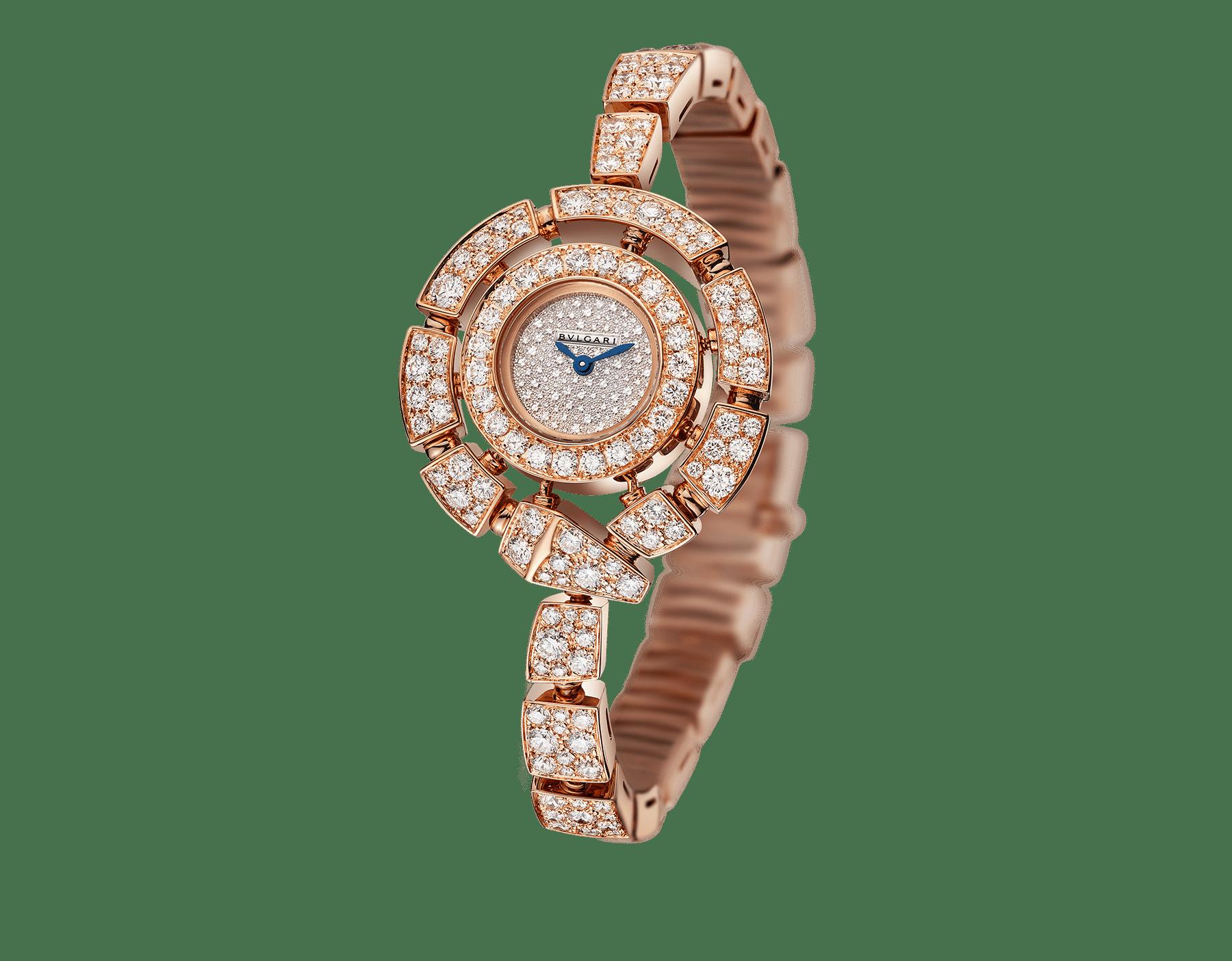 Relógio Serpenti Incantati com caixa e pulseira em ouro rosa 18K cravejadas com diamantes lapidação brilhante e mostrador cravejado com diamantes engaste neve. 102673 image 1