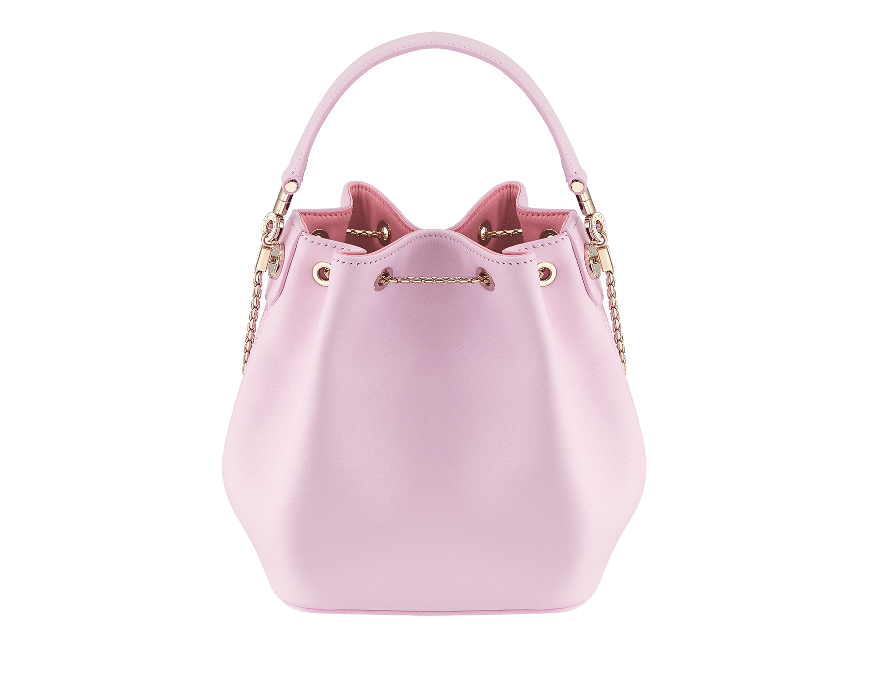 Serpenti Forever bucket in rosa di francia smooth calf leather and a flamingo quartz inner lining. Hardware in light gold plated brass and snakehead closure in black and white enamel, with eyes in black onyx. 288769 image 3